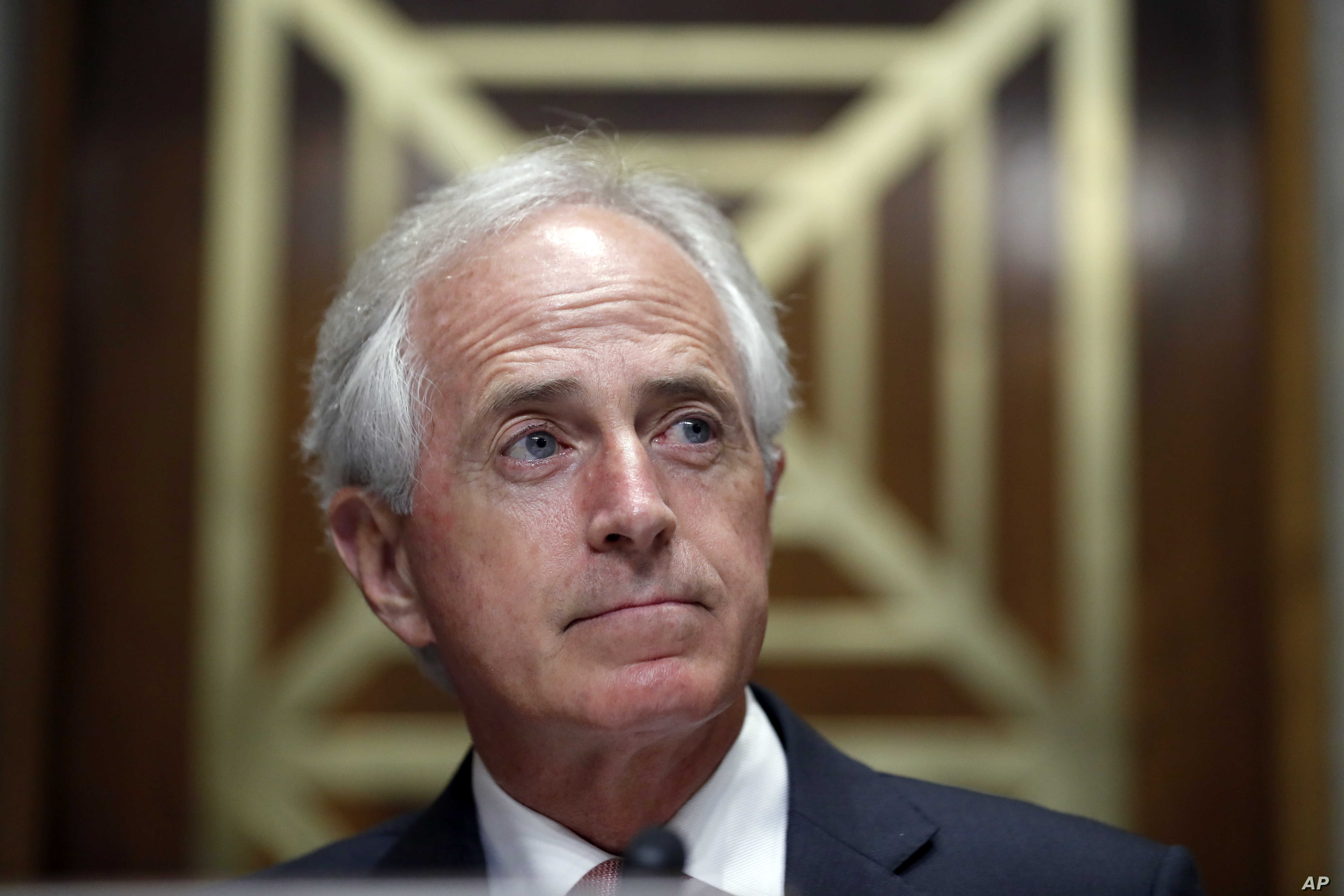 Chairman Bob Corker, R-Tenn., pauses before a hearing of the Senate Foreign Relations Committee on the nomination of former Utah Gov. Jon Huntsman to become the US ambassador to Russia, on Capitol Hill, Sept. 19, 2017 in Washington.