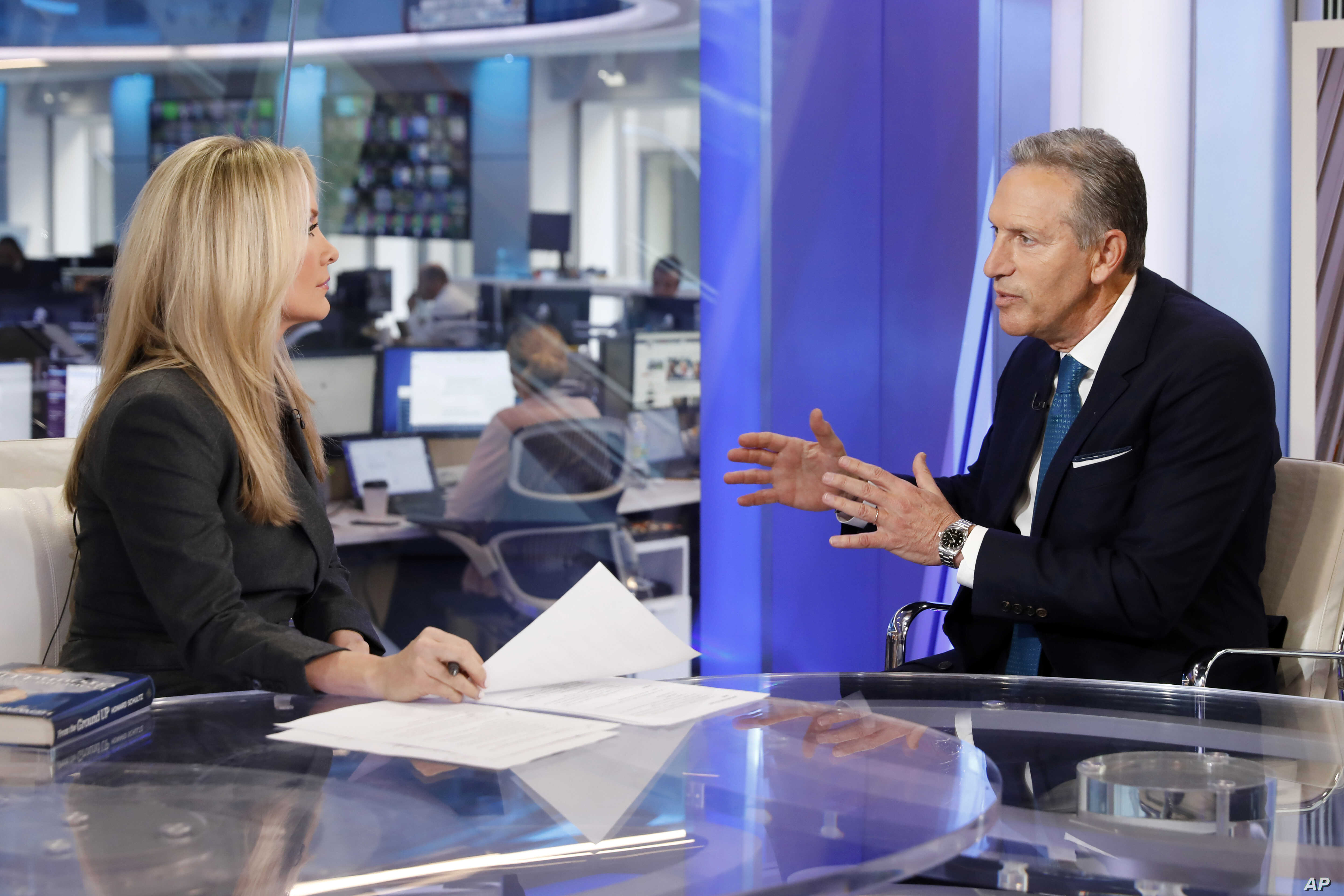 "Former Starbucks CEO Howard Schultz is interviewed by FOX News Anchor Dana Perino for her ""The Daily Briefing"" program, in New York, Jan. 30, 2019. Schultz said he's flirting with an independent presidential campaign that would motivate voters turned..."