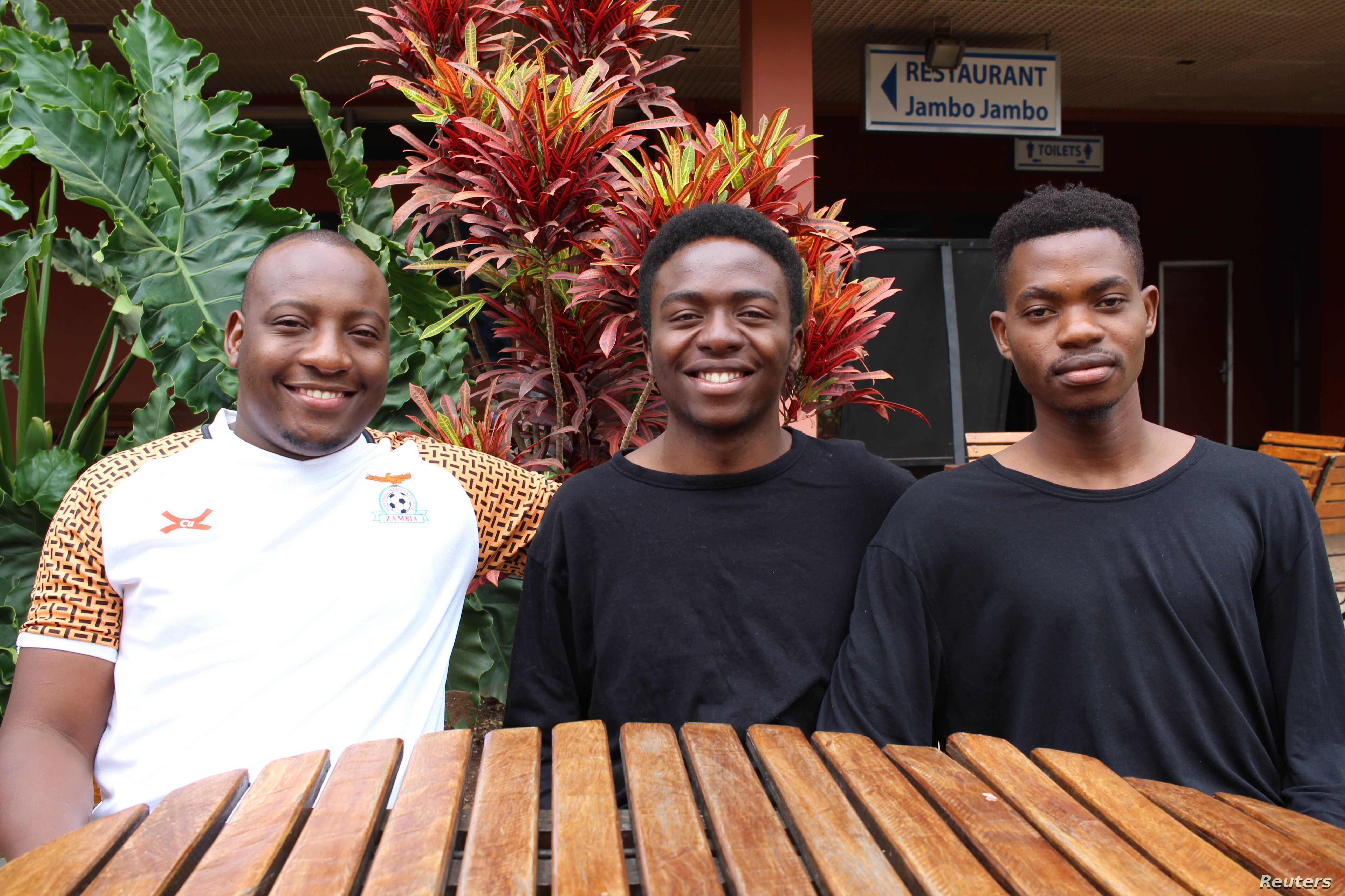 Three of the team members of AgriPredict from Zambia who won the the first Africa-wide hackathon aimed at curbing hunger levels, in Kigali, Aug 21, 2018.