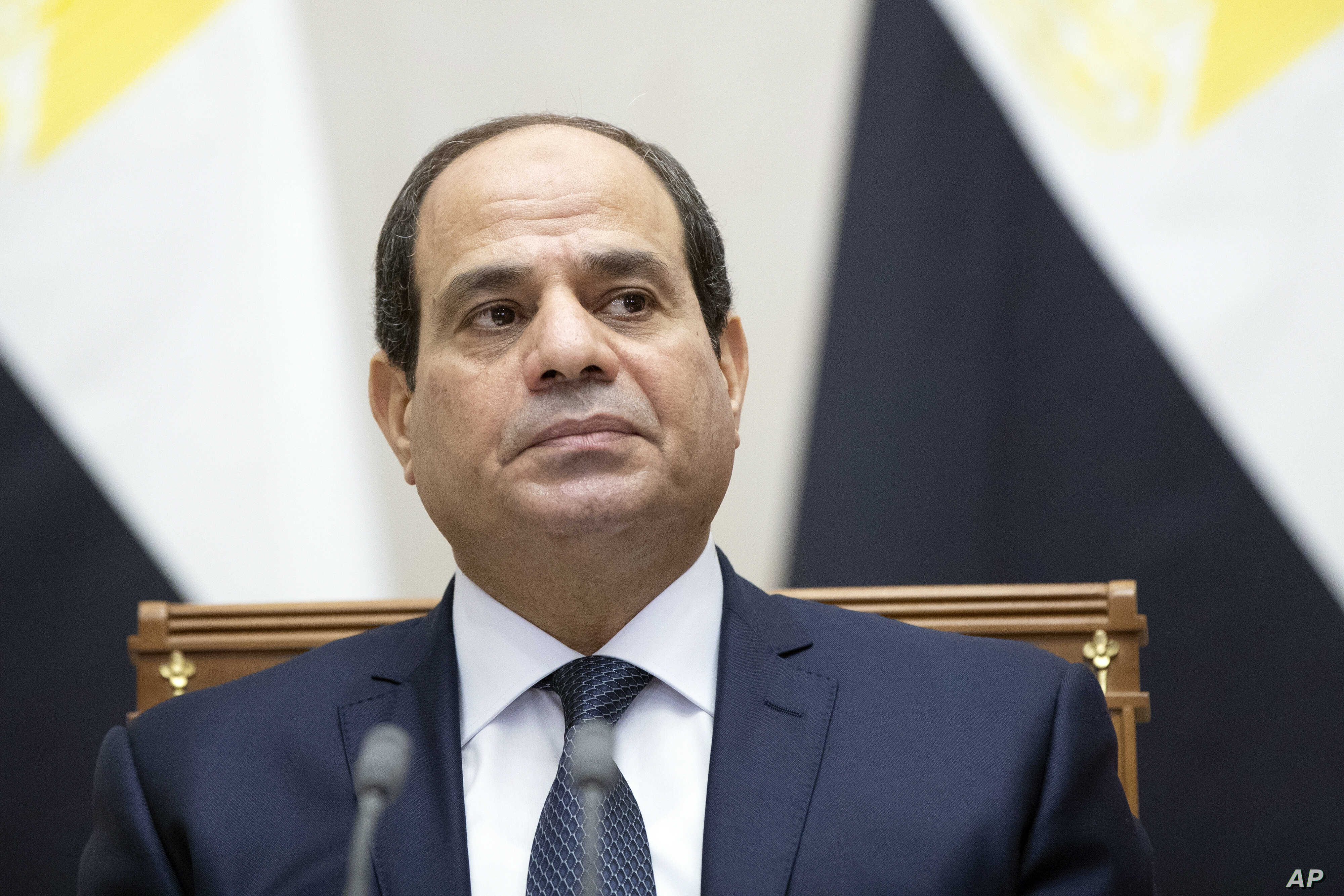 Egyptian President Abdel-Fattah el-Sissi attends a signing ceremony  with Russian President Vladimir Putin in Sochi, Russia, Oct. 17, 2018. Shaymaa Afifi, the wife of Mustafa el-Nagar, a former Egyptian lawmaker, says her husband went missing nearly
