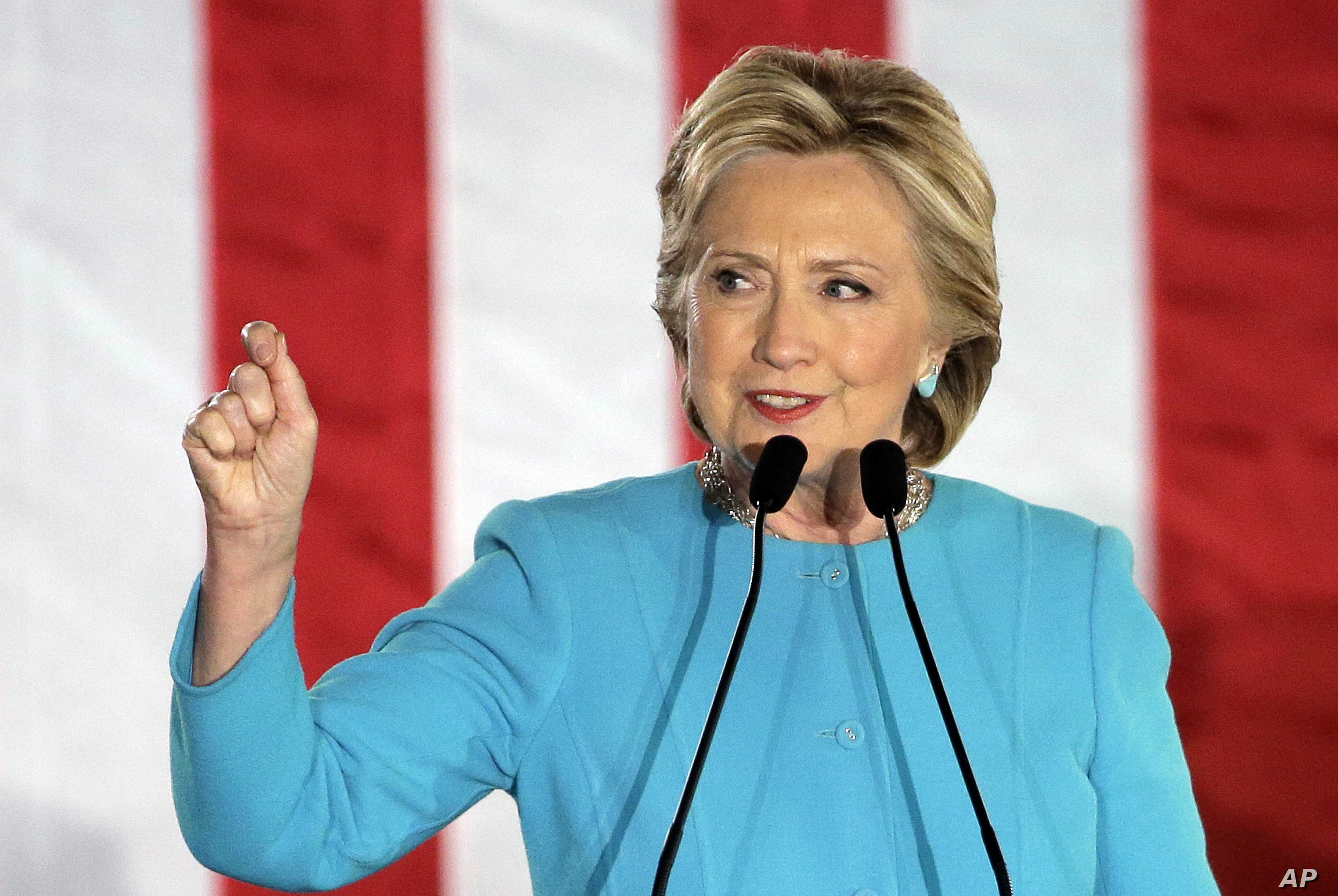 Democratic presidential candidate Hillary Clinton speaks during a campaign rally, Nov. 6, 2016, in Manchester, N.H.
