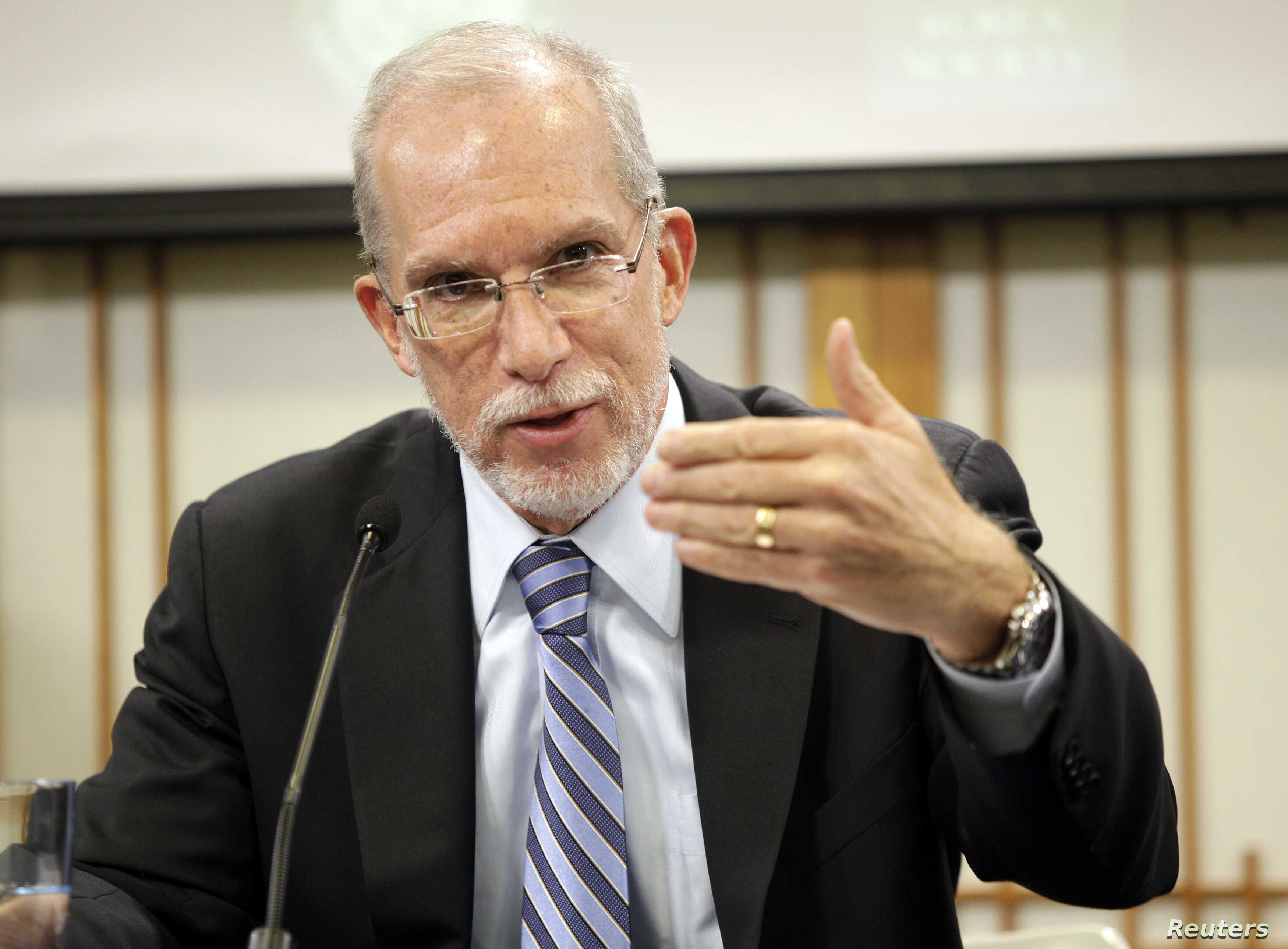 Evans Revere, former U.S. Deputy Ambassador for East Asian Affairs, speaks to the National Committee on American Foreign Policy and a North Korean delegation led by Vice Foreign Minister Ri Yong Ho, at The Korea Society in New York, March 10, 2012.