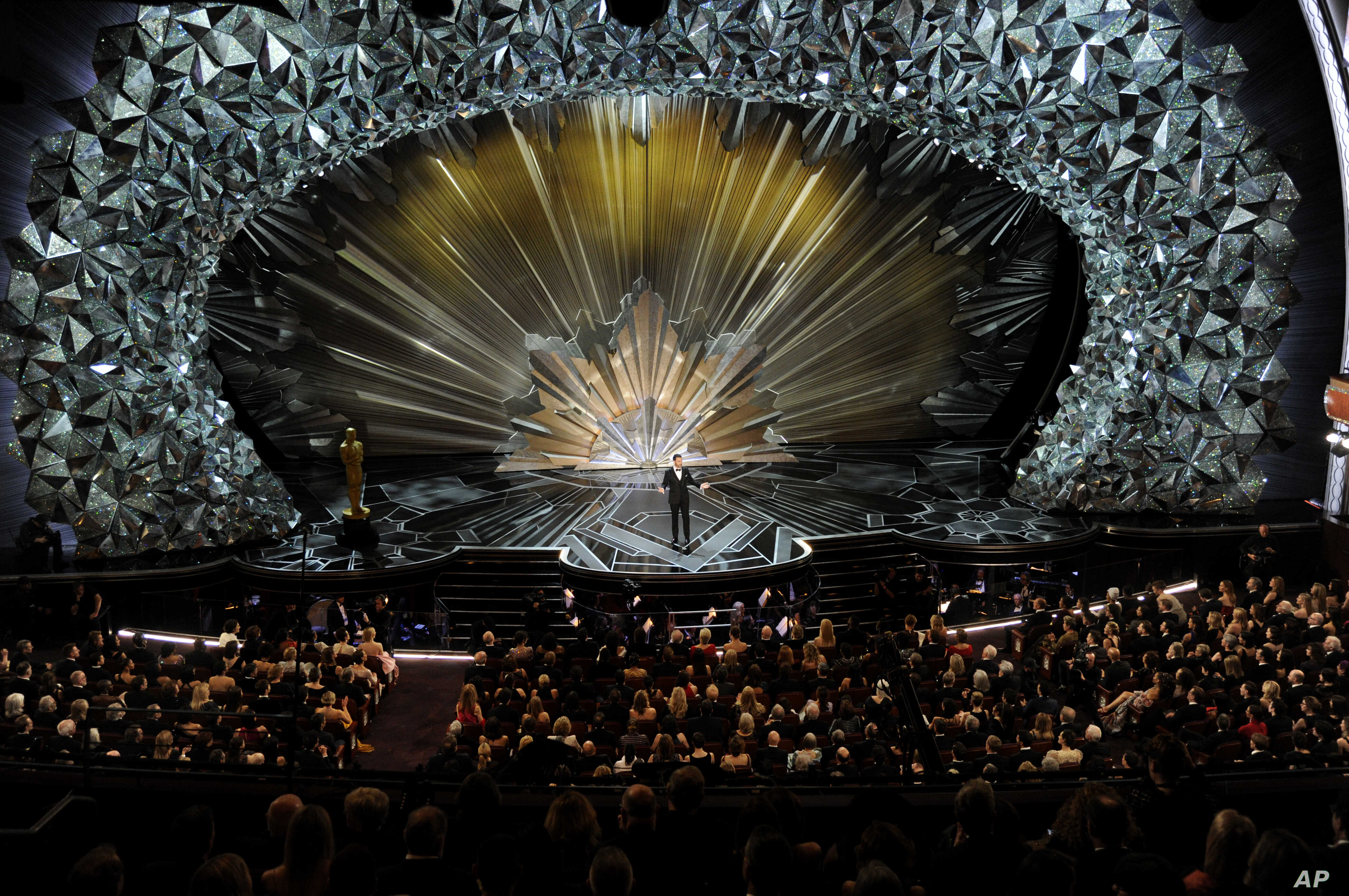 Host Jimmy Kimmel speaks at the Oscars, March 4, 2018, at the Dolby Theatre in Los Angeles.