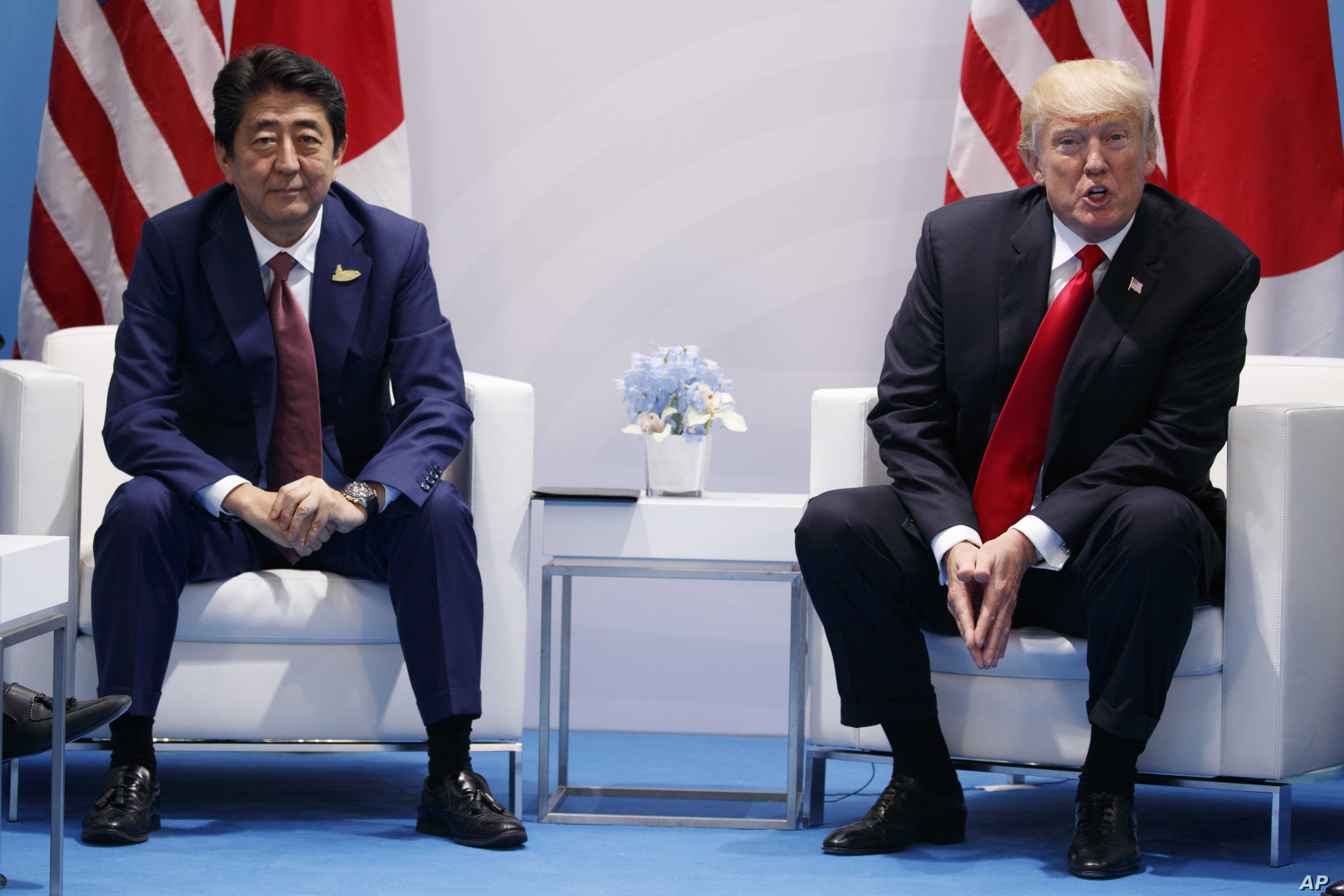 President Donald Trump, right, speaks during a meeting with Japanese Prime Minister Shinzo Abe at the G20 Summit, July 8, 2017, in Hamburg, Germany.