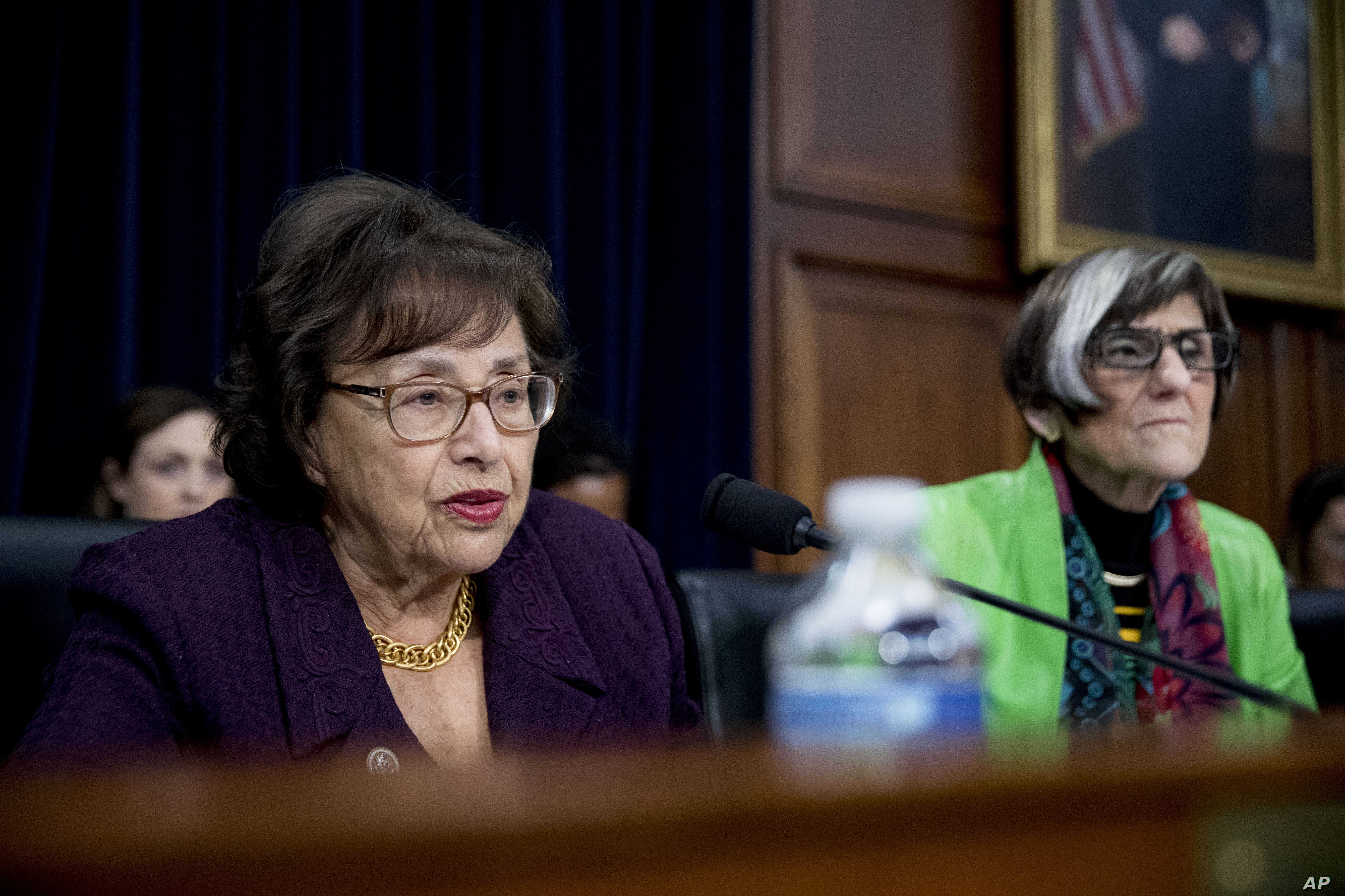 Chairwoman Nita Lowey, D-N.Y., left, accompanied by Rep. Rosa DeLauro, D-Conn., right, speaks as Education Secretary Betsy DeVos appears before a House Appropriations subcommittee hearing on budget on Capitol Hill in Washington, March 26, 2019.