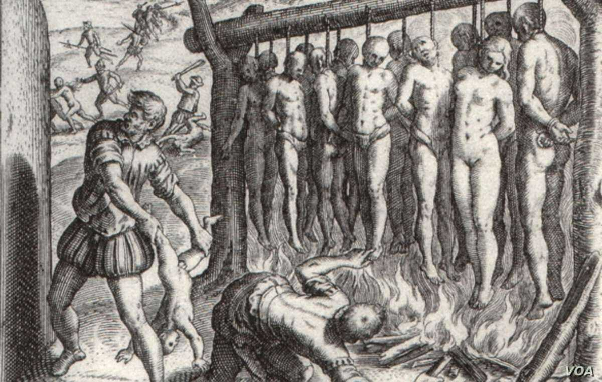 """""""...and they burned the Indians alive.' Illustration by Theodor de Bry, published in 1552 in 'A Short Account of the Destruction of the Indies', written by Spanish friar Bartolomé de las Casas in 1542"""