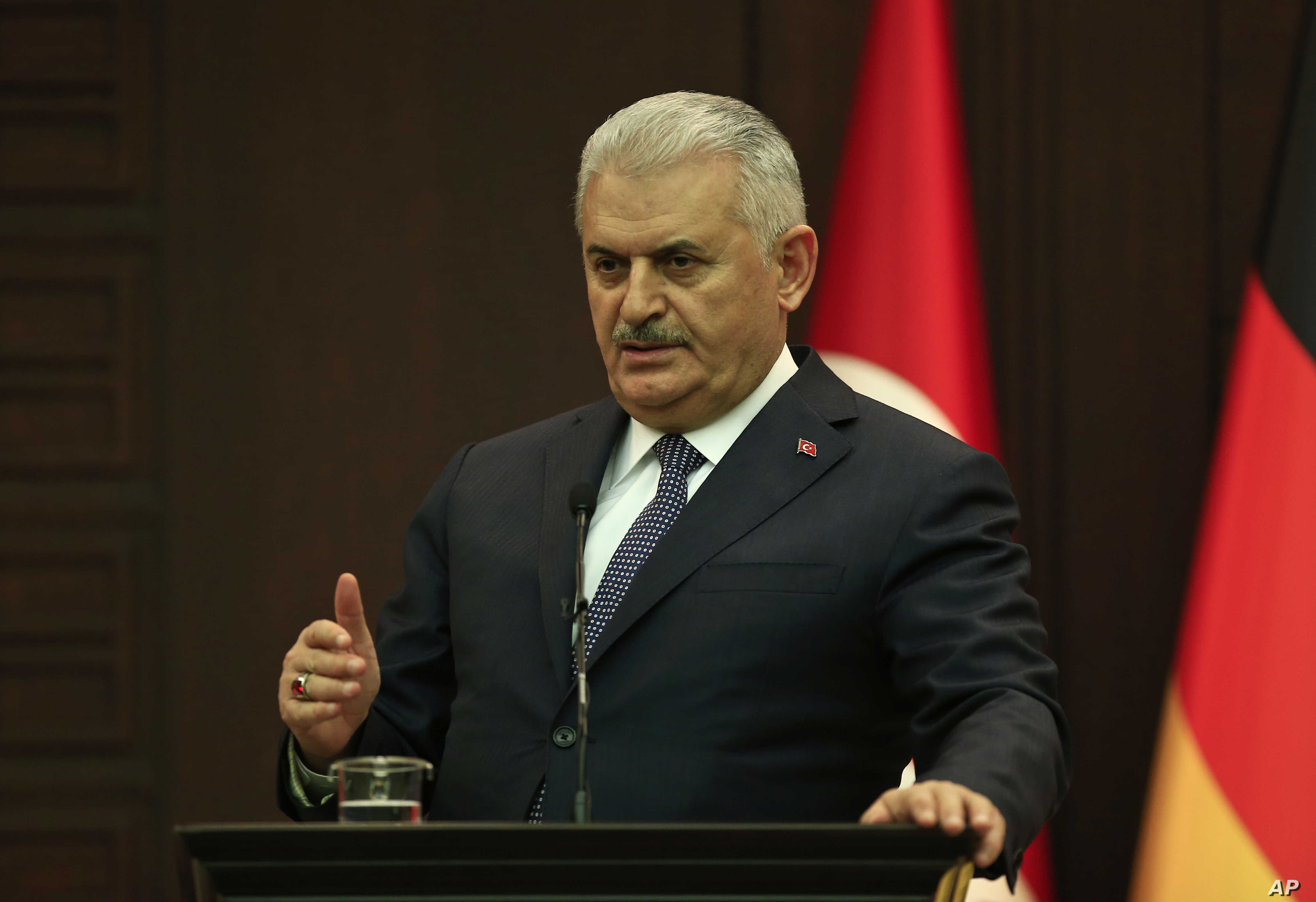 Turkey's Prime Minister Binali Yildirim speaks during a press conference with German Chancellor Angela Merkel after their meeting in Ankara, Feb. 2, 2017.