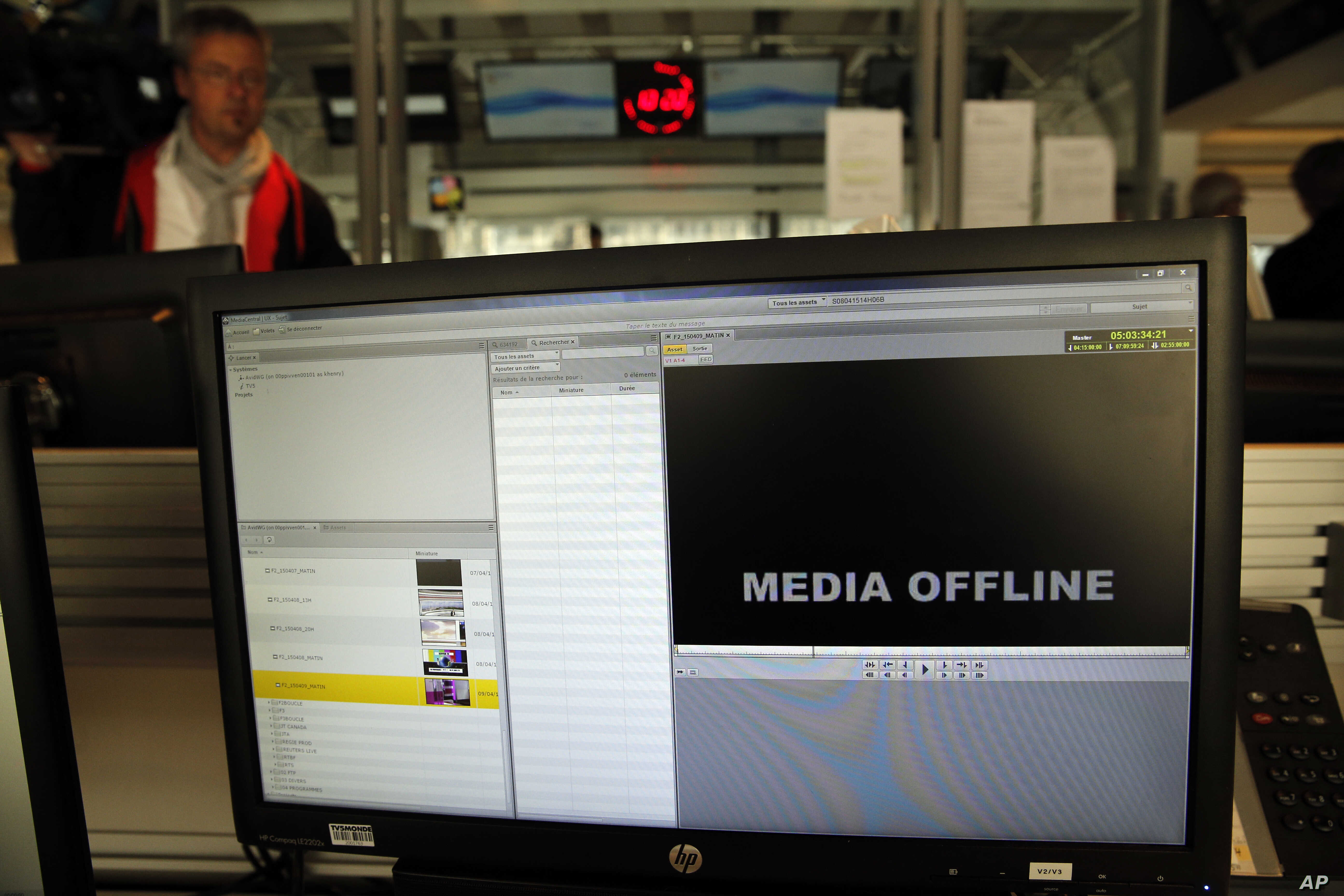 A computer screen is pictured at TV5 Monde  after the French television network was hacked by people claiming allegiance to the Islamic State group, in Paris, France, April 9, 2015.