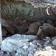 An image taken from an Inter Services Public Relations video shows a destroyed Pakistani army post after a NATO attack in the Pakistan-Afghanistan border area, November 30, 2011