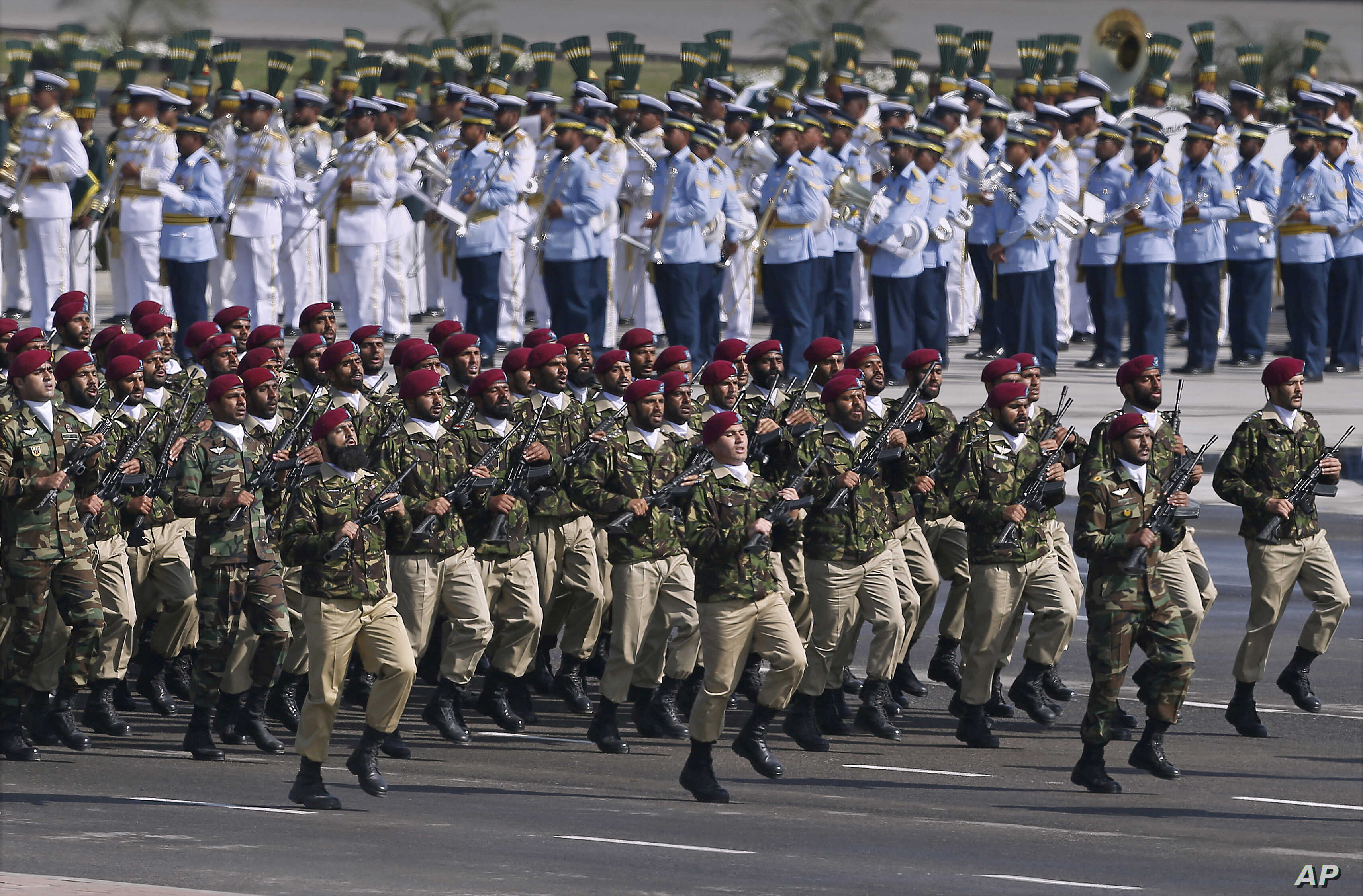 Pakistani commandos from the Special Services Group march during a military parade to mark Pakistan's Republic Day, in Islamabad, Pakistan, March 23, 2017.