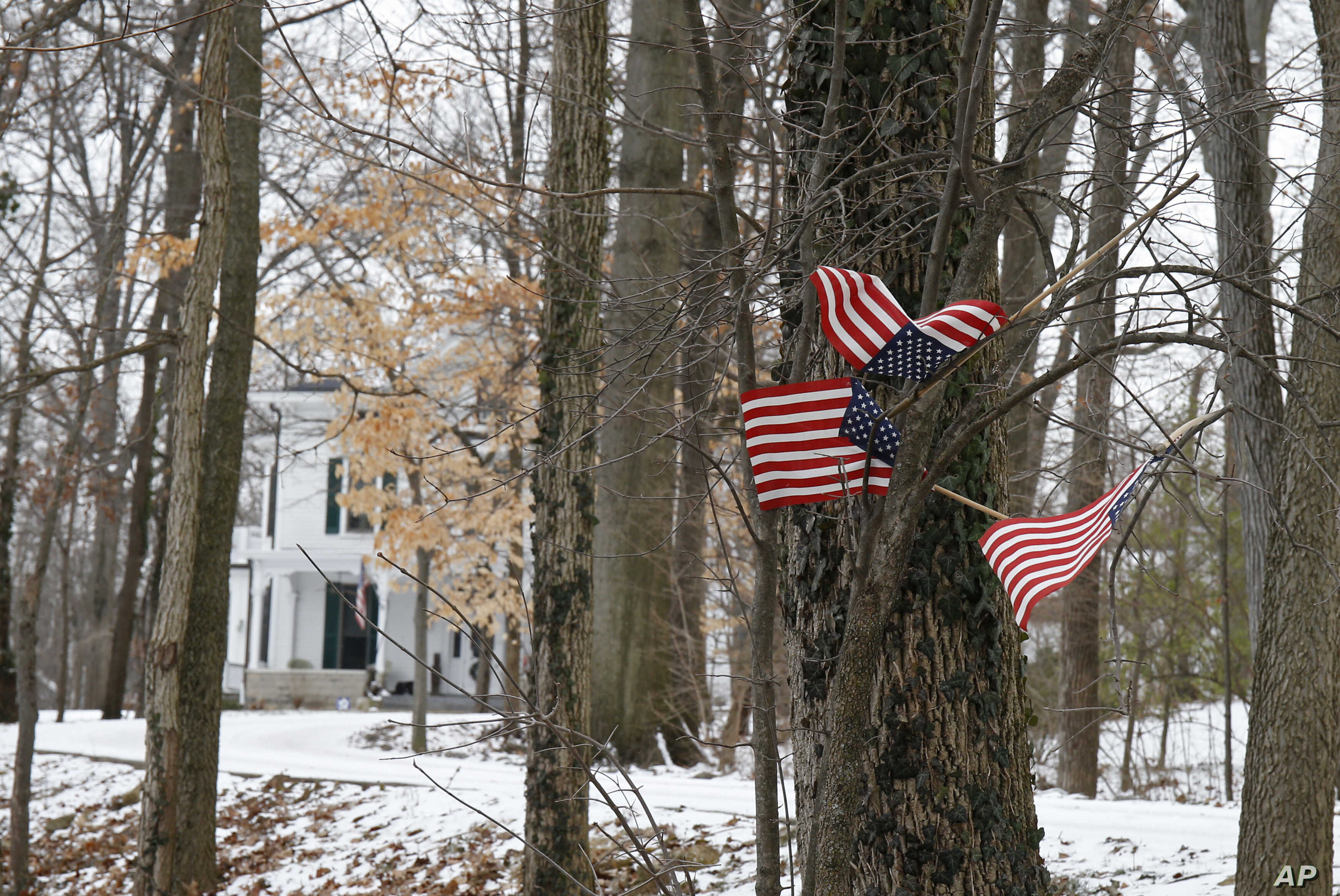 FILE 0 Small American flags have been placed in the trees in front of the Warmbier family home in Wyoming, Ohio, Jan. 22, 2016.