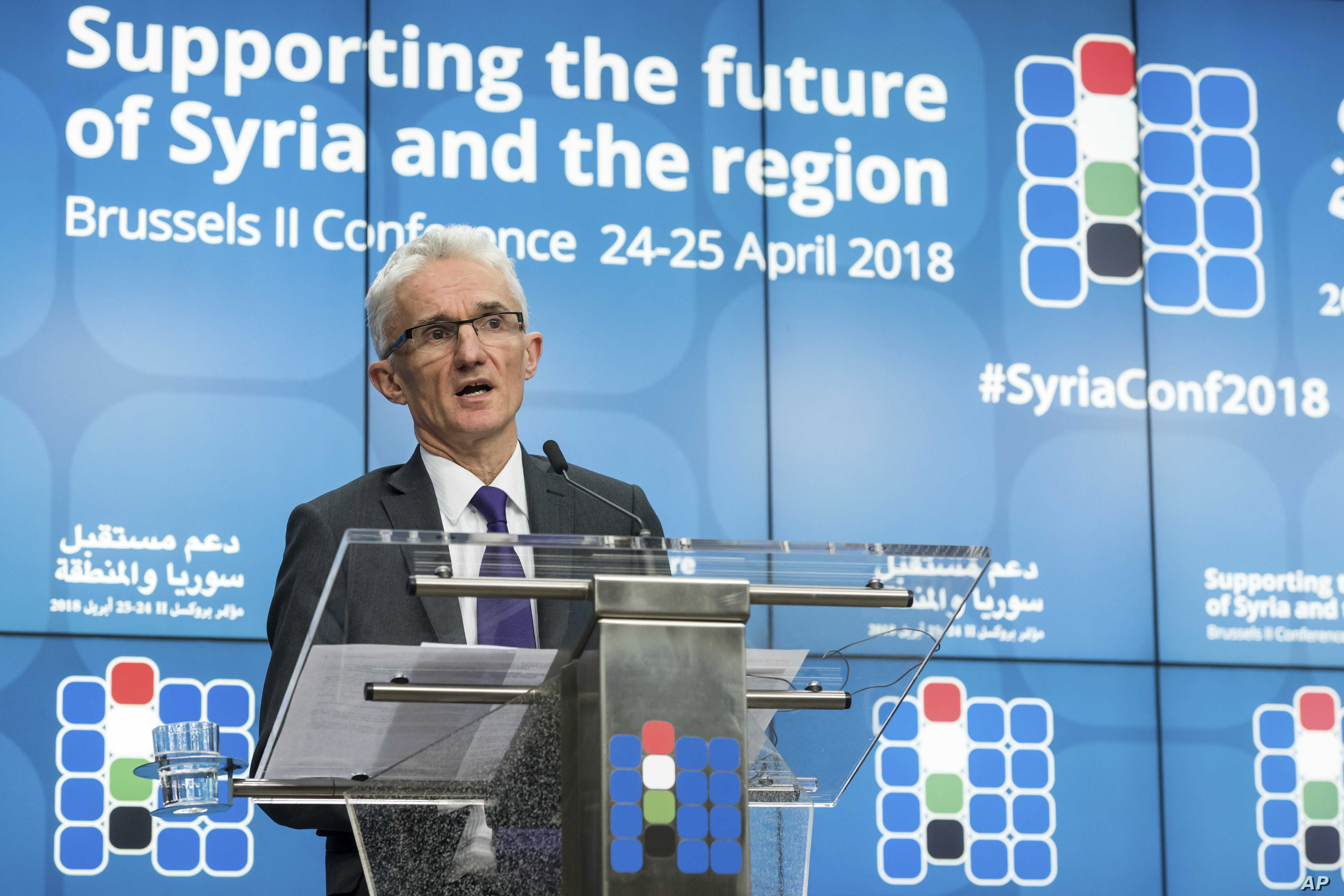 UN Under-Secretary-General for Humanitarian Affairs and Emergency Relief Coordinator Mark Lowcock addresses the media during a conference on Syria at a EU Council in Brussels, April 25, 2018.