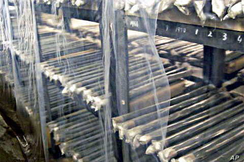 Unused nuclear fuel rods are piled on the shelves of a warehouse at North Korea's main nuclear plant in Yongbyon, North Korea (file photo)