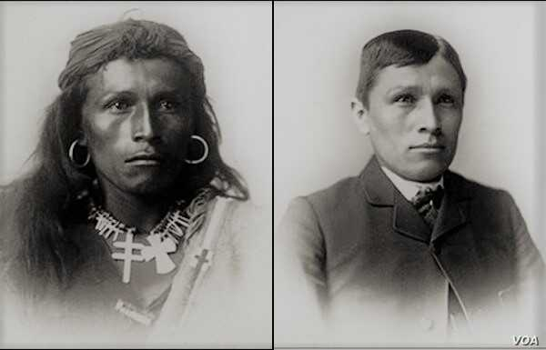 Photo shows Hastiin To'Haali, renamed Tom Turlino, Dine Bit'ahnii (Navajo) from Coyote Canyon, New Mexico, (L) on arrival at Carlisle Indian Industrial School in 1882 and (R) after assimilation in 1885.  Photo by Courtesy, NARA.