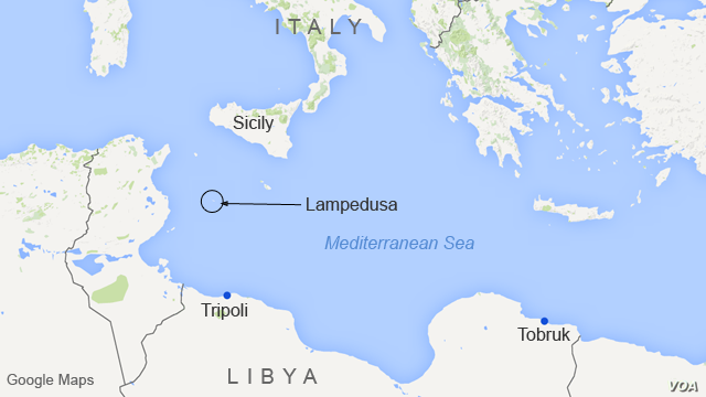 Sicily, Lampedusa, and the Libyan coast, in the Mediterranean