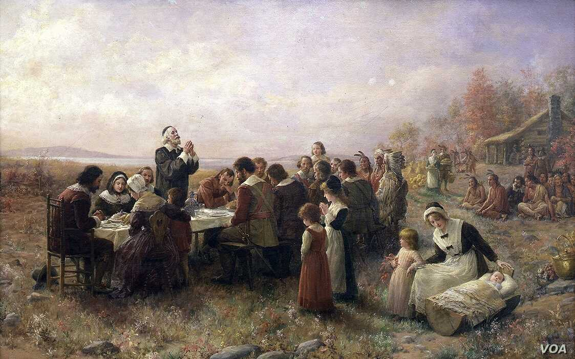 """The first joint Thanksgiving as envisioned by artist Jennie Augusta Brownscombe (1850-1936), """"The First Thanksgiving"""" (1914), oil on canvas, Pilgrim Hall Museum, Plymouth, Massachusetts."""