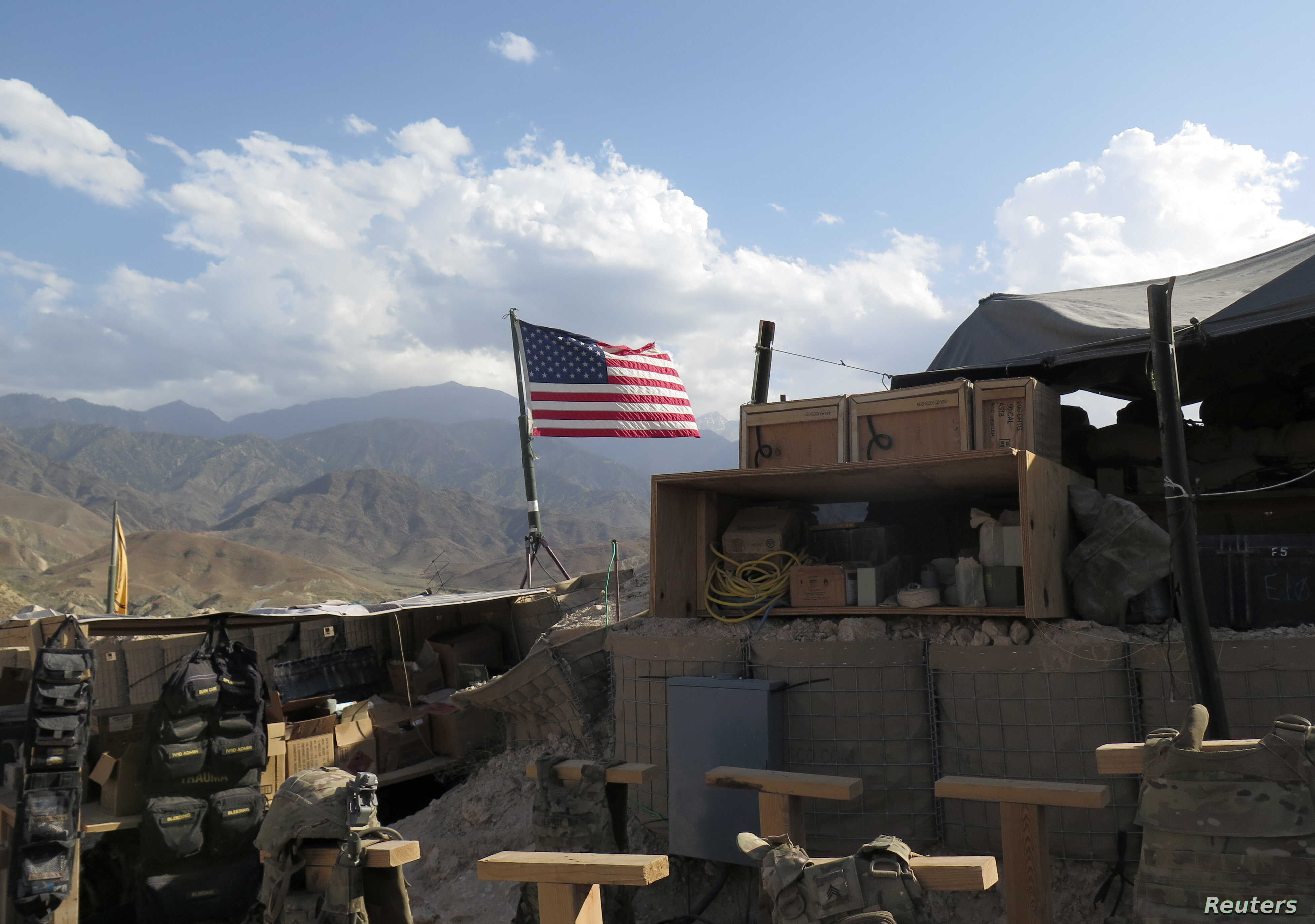 U.S. flag is seen at a post in Deh Bala district, Nangarhar province, Afghanistan July 7, 2018.