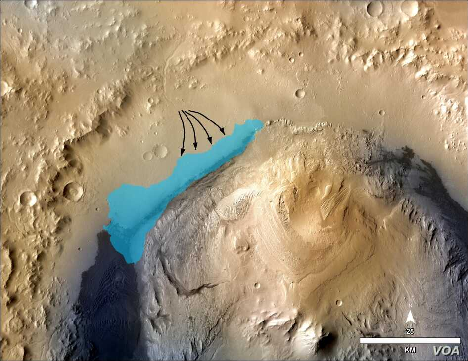 This illustration depicts a concept for the possible extent of an ancient lake inside Gale Crater. The existence of a lake there billions of years ago was confirmed from examination of mudstone in the crater's Yellowknife Bay area. (Credit: NASA)