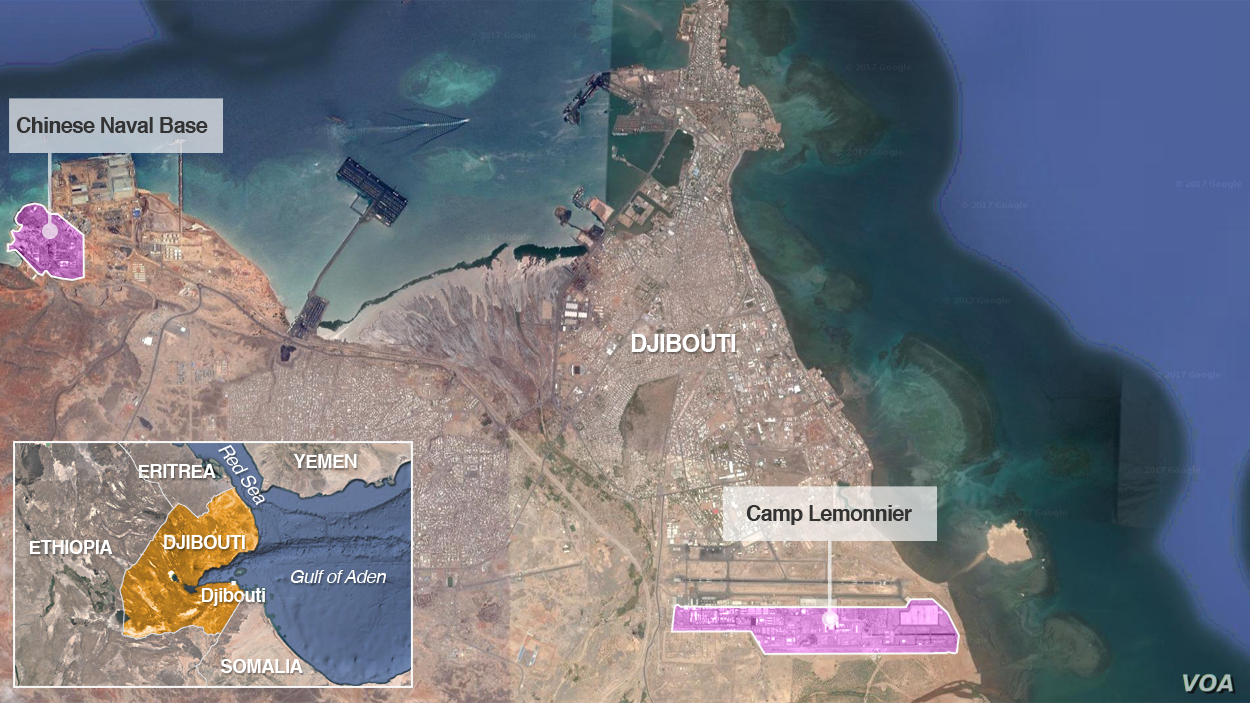A Chinese naval base and U.S. base Camp Lemonnier, in Djibouti