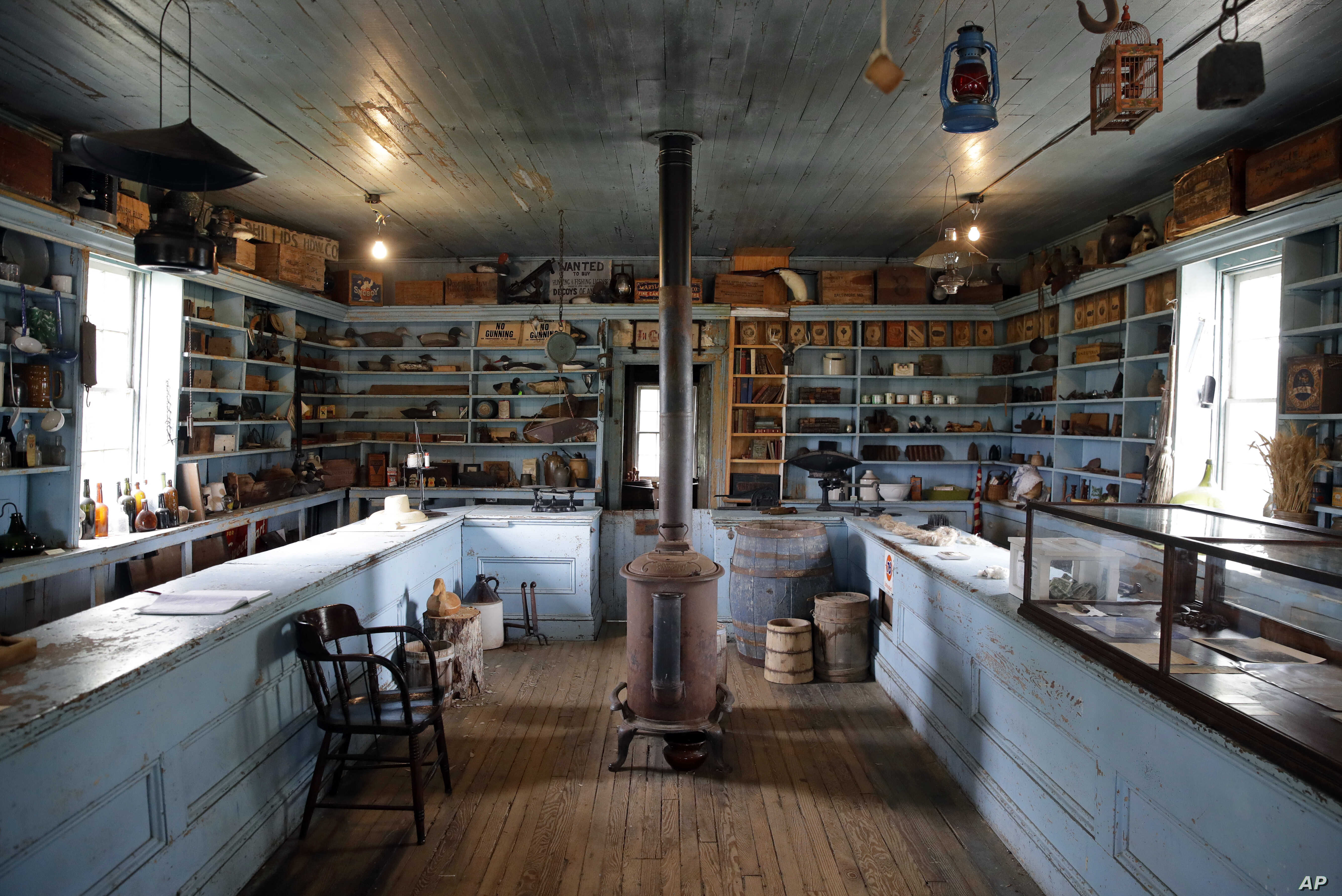 Photo shows the interior of the Bucktown Village Store, a rural store building that has been restored on the spot believed to be where Harriet Tubman refused a slave owner's orders to help him detain the slave, in Bucktown, Maryland, May 12, 2017.
