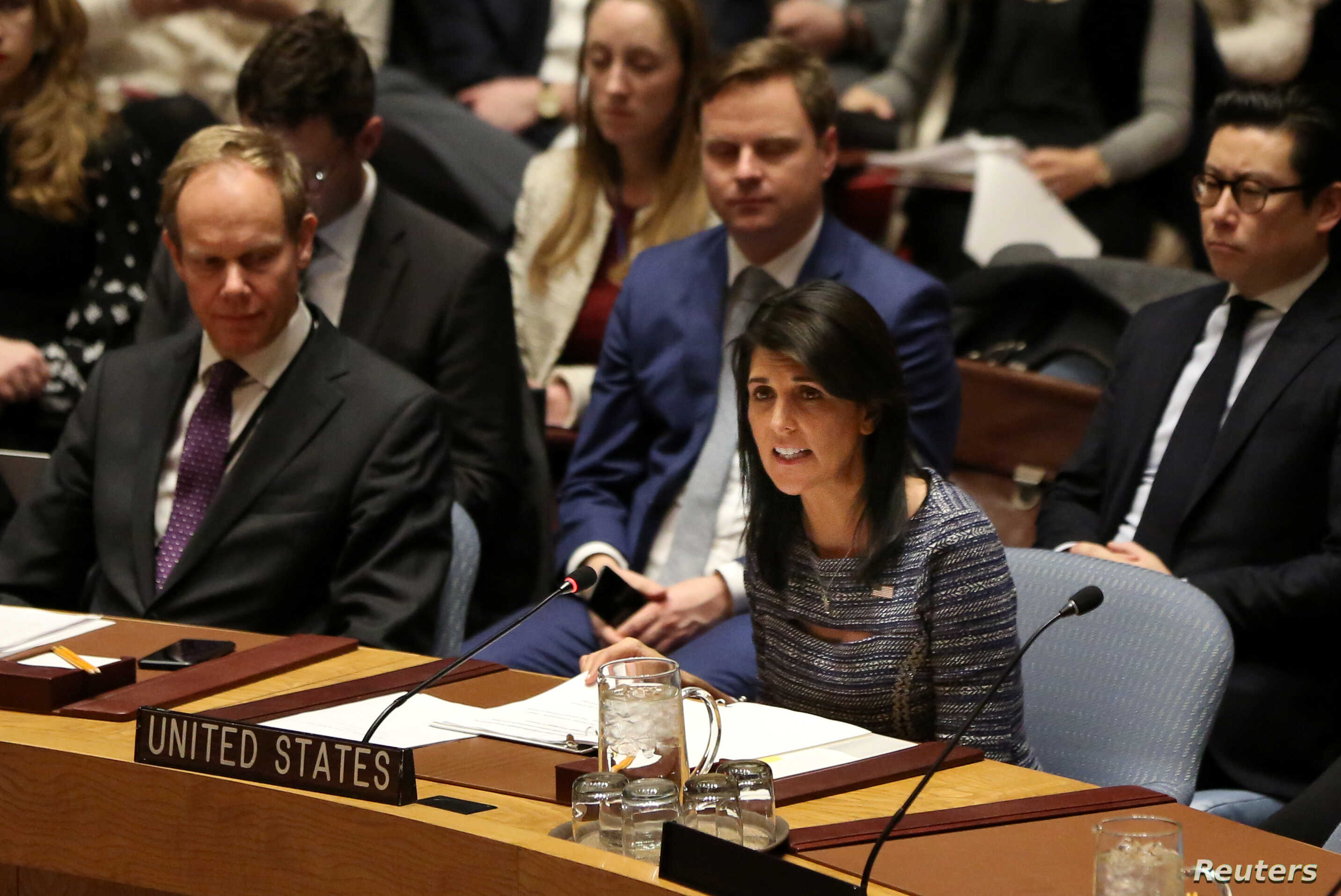 U.S. Ambassador to the United Nations Nikki Haley attends the United Nations Security Council session on imposing new sanctions on North Korea, in New York, U.S., Dec. 22, 2017