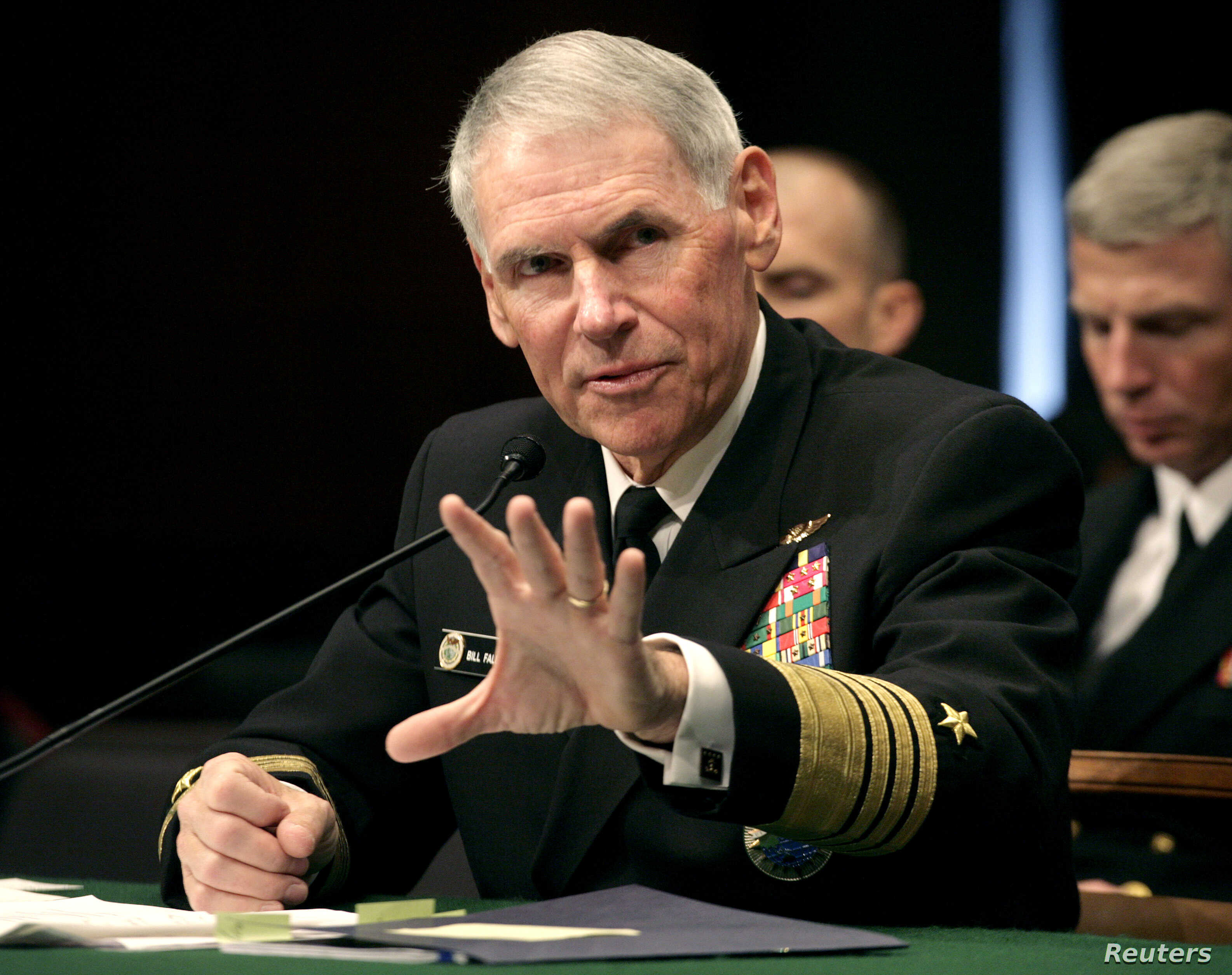Navy Adm. William Fallon testifies before the Senate Armed Services Committee on Capitol Hill in Washington during a hearing on his nomination to be commander of the US Centeral Command Jan. 30, 2007.
