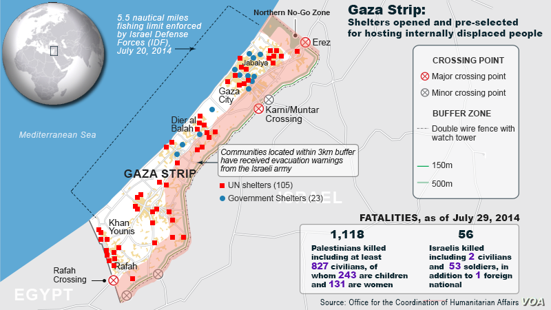 Gaza Strip shelters, and fatality updates from July 29, 2014