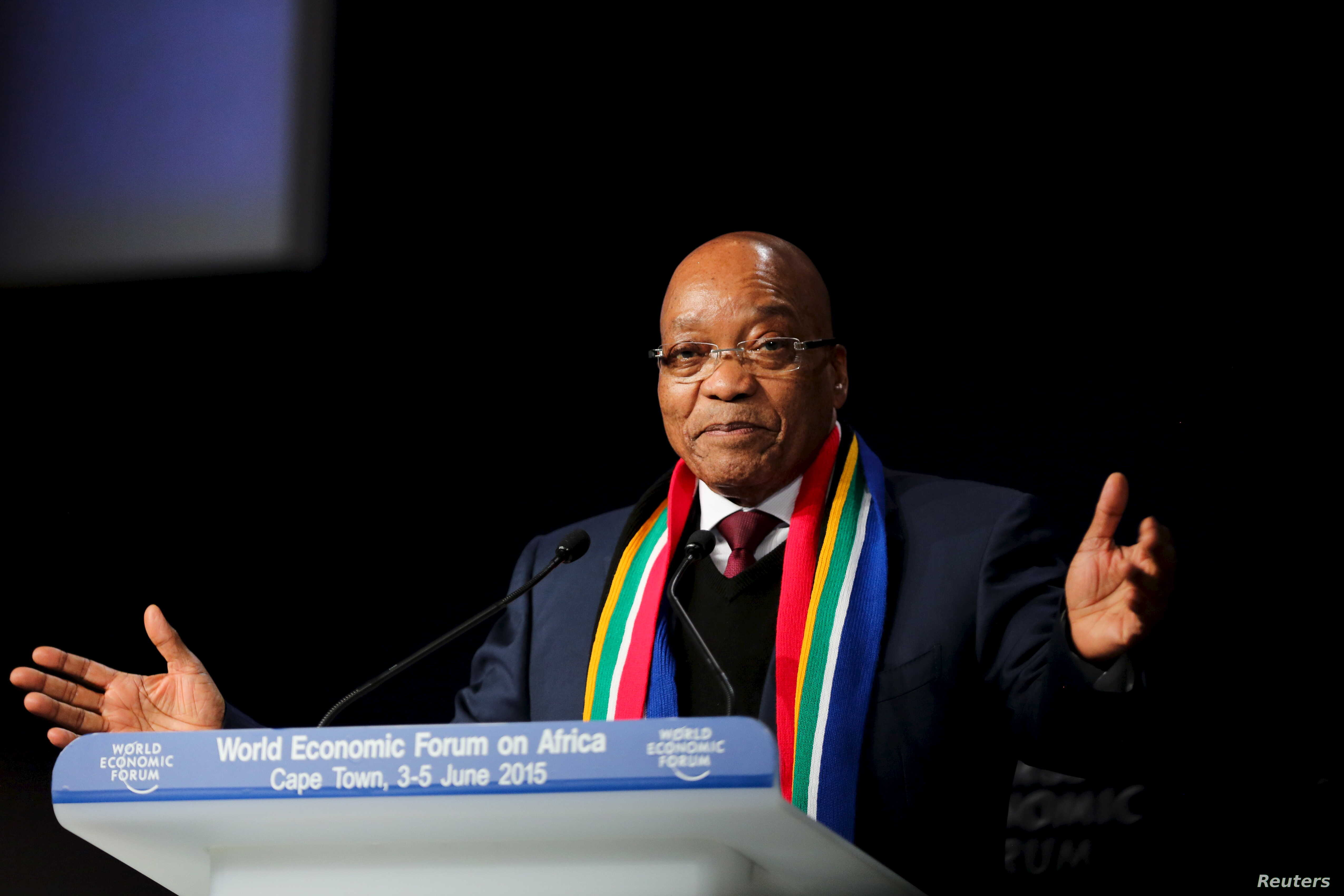 South African President Jacob Zuma speaks at the opening plenary session of the World Economic Forum (WEF) on Africa in Cape Town, June 4, 2015.