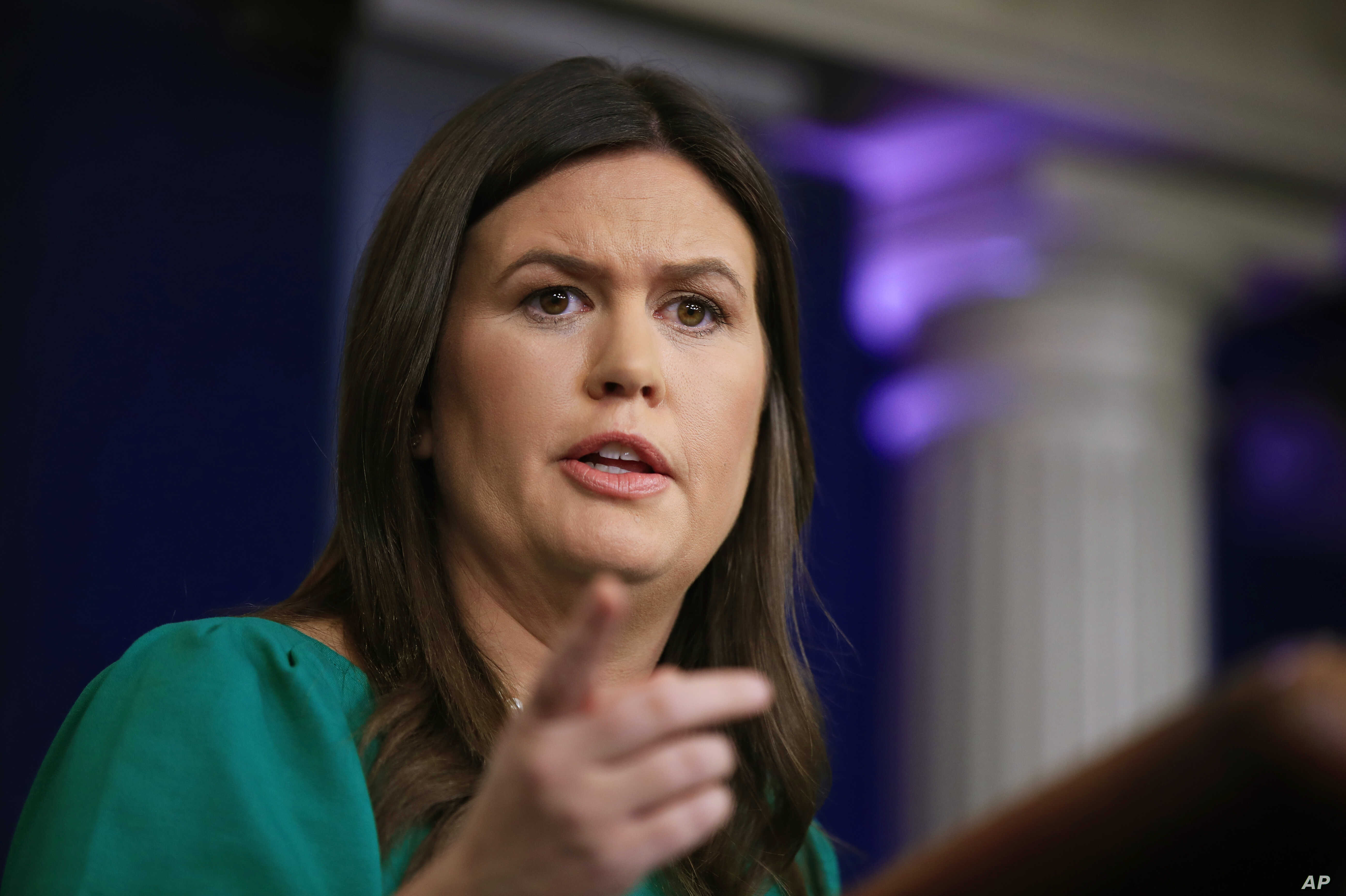 White House press secretary Sarah Huckabee Sanders talks to reporters during a press briefing at the White House in Washington, Oct. 29, 2018.