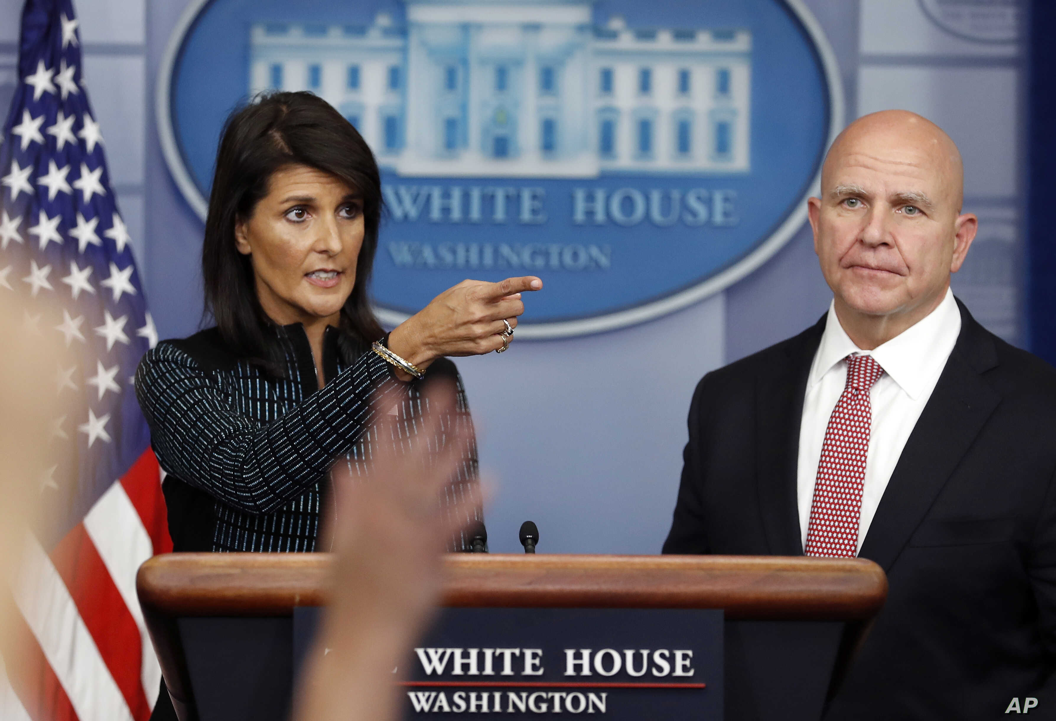 U.S. Ambassador to the United Nations Nikki Haley and national security adviser H.R. McMaster participate in a news briefing at the White House, in Washington, Sept. 15, 2017.