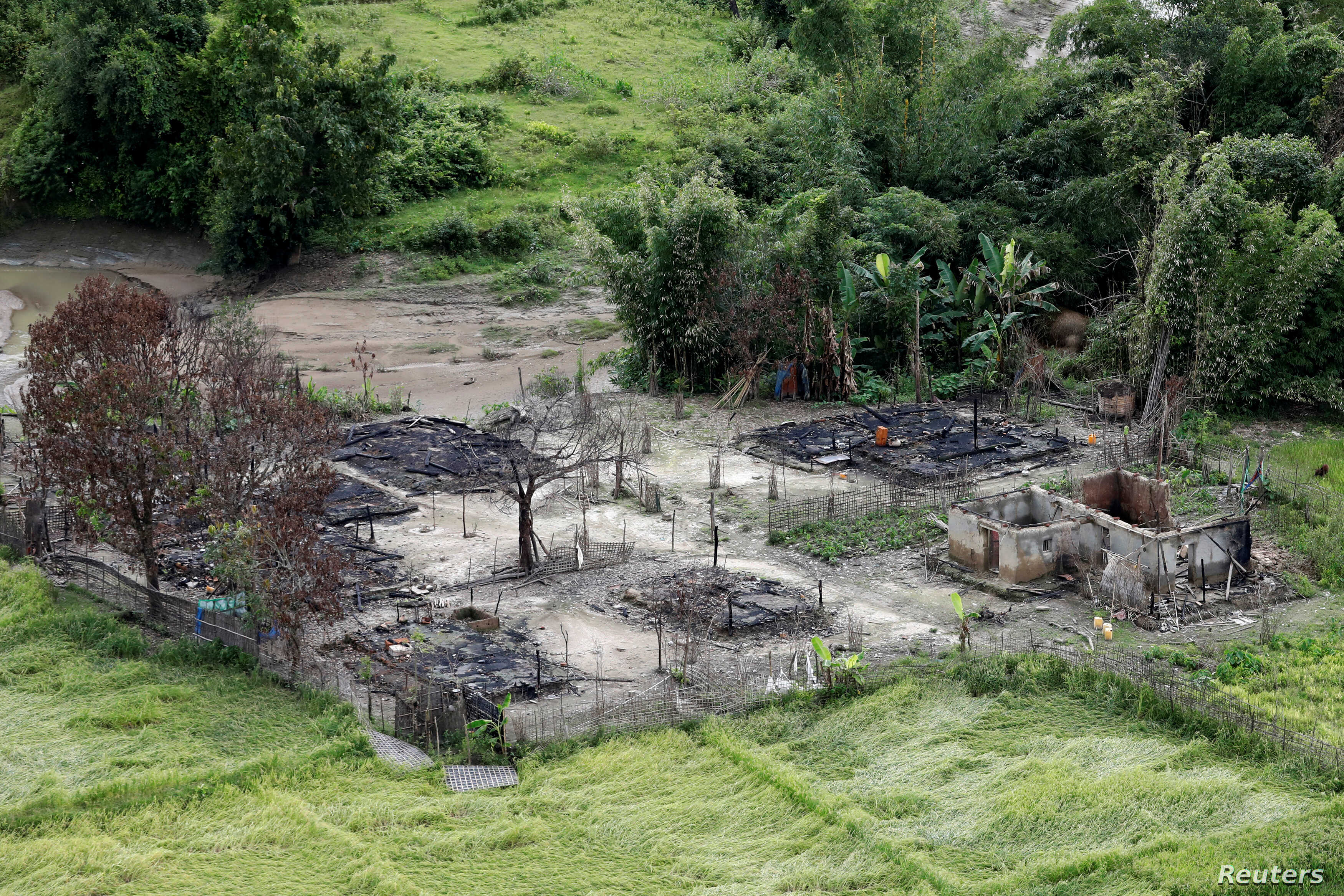 An aerial view of a burned Rohingya village near Maungdaw, north of Rakhine state, Myanmar Sept. 27, 2017.