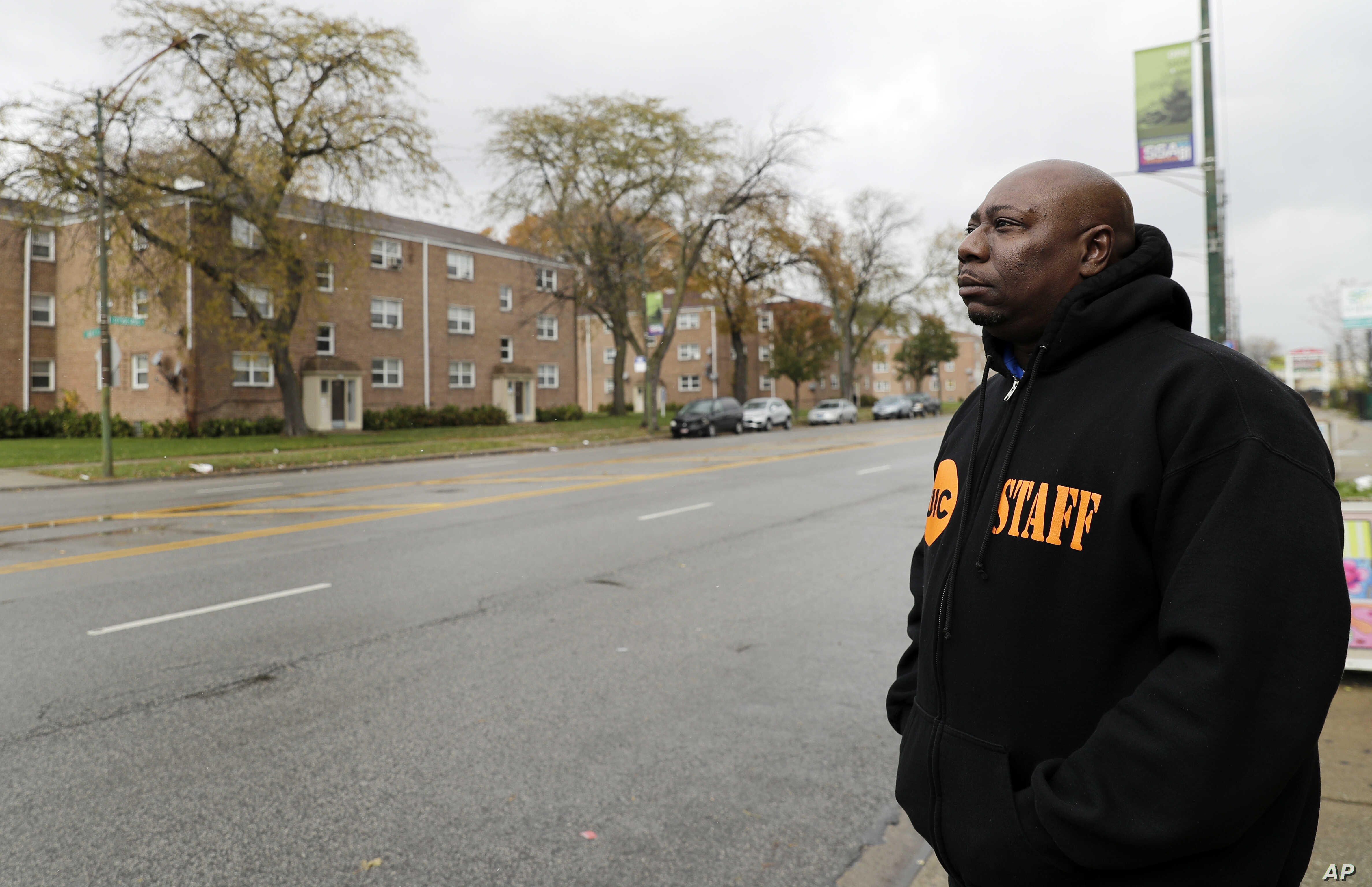Demeatreas Whatley, a supervisor for Cure Violence, a group that works to stem gang violence, stands on a street on the South Side of Chicago, Nov. 9, 2018.