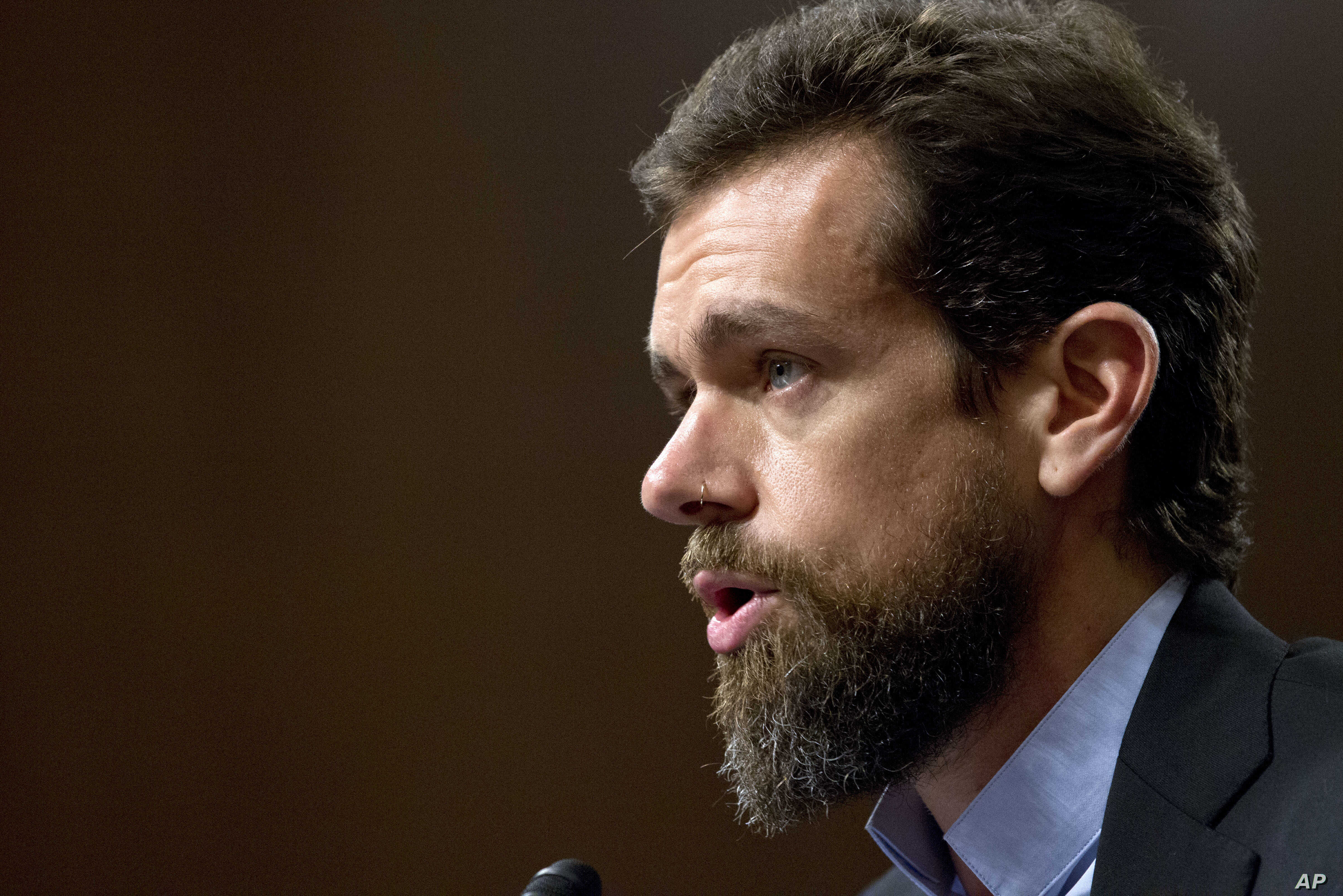 Twitter CEO Jack Dorsey testifies before the Senate Intelligence Committee hearing on 'Foreign Influence Operations and Their Use of Social Media Platforms' on Capitol Hill, Sept. 5, 2018, in Washington.