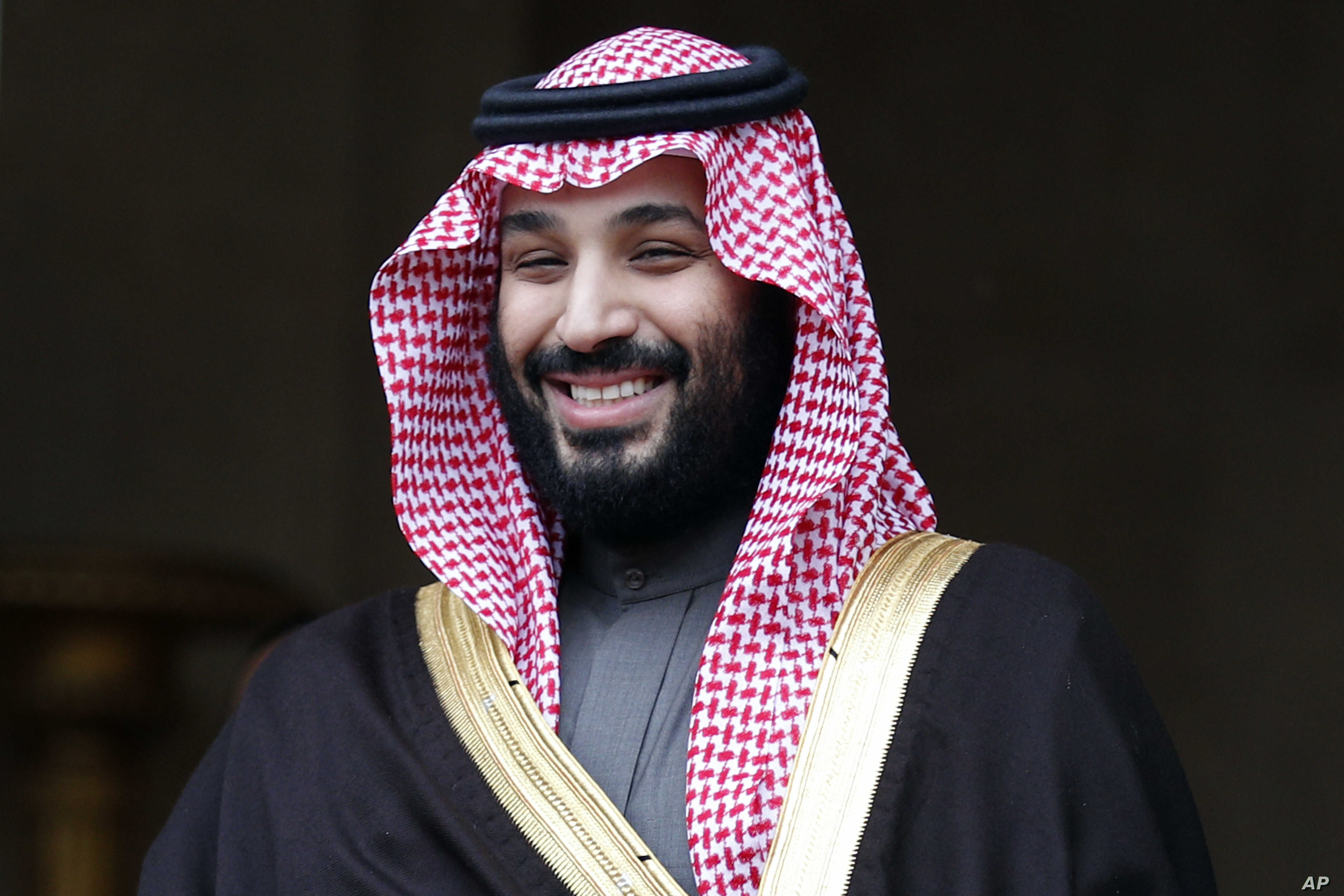 FILE- Saudi Crown Prince Mohammed bin Salman visits France, April 9, 2018. The disappearance of Saudi journalist Jamal Khashoggi, Oct. 2, 2018, in Turkey, peels away a carefully cultivated reformist veneer promoted about the Saudi Crown Prince, inste...