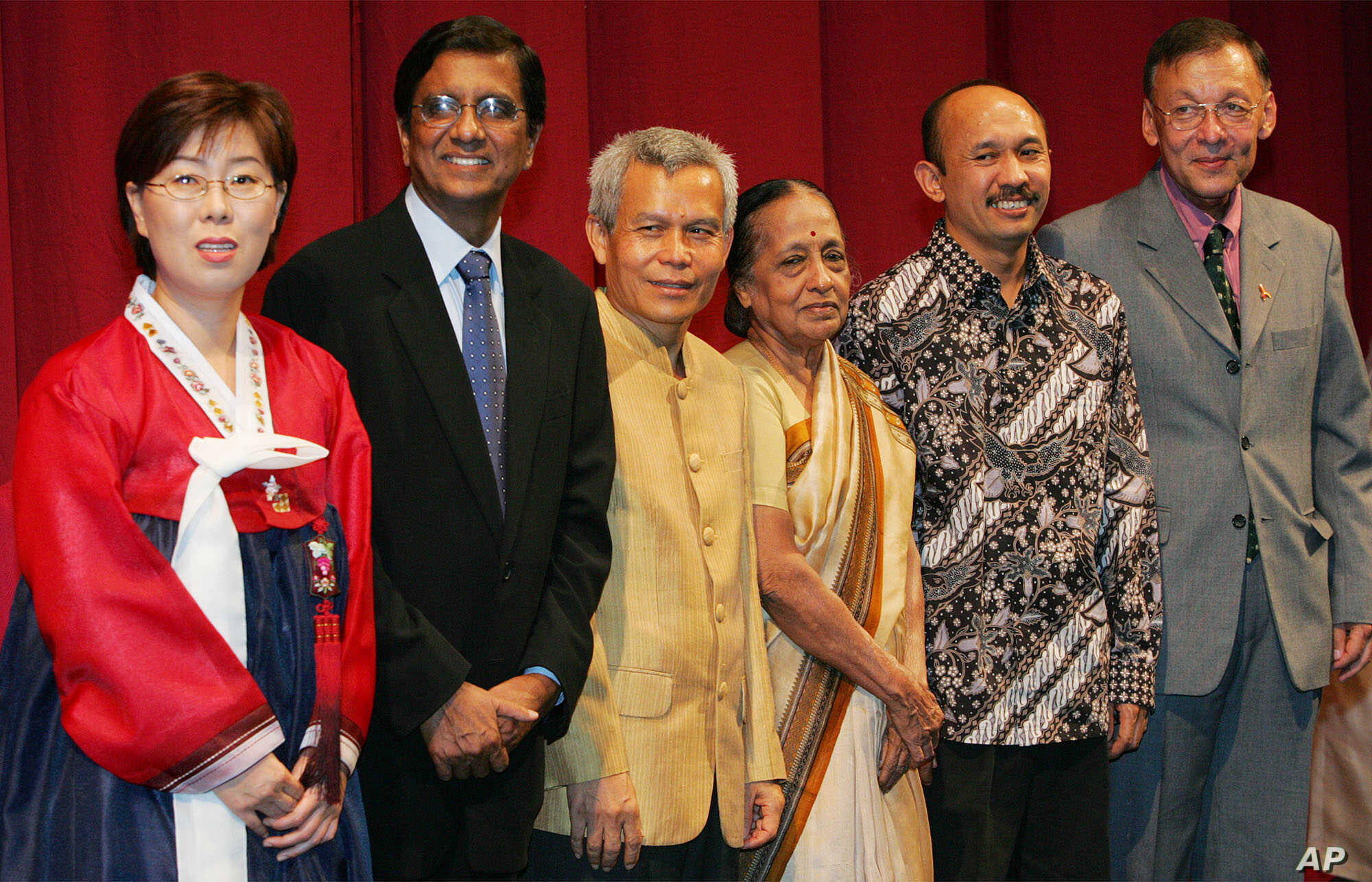 FILE - Lao civil society leader Sombath Somphone (3-L) is seen among Asian recipients of the Ramon Magsaysay awards, in Manila, Philippines, Aug. 31, 2005.