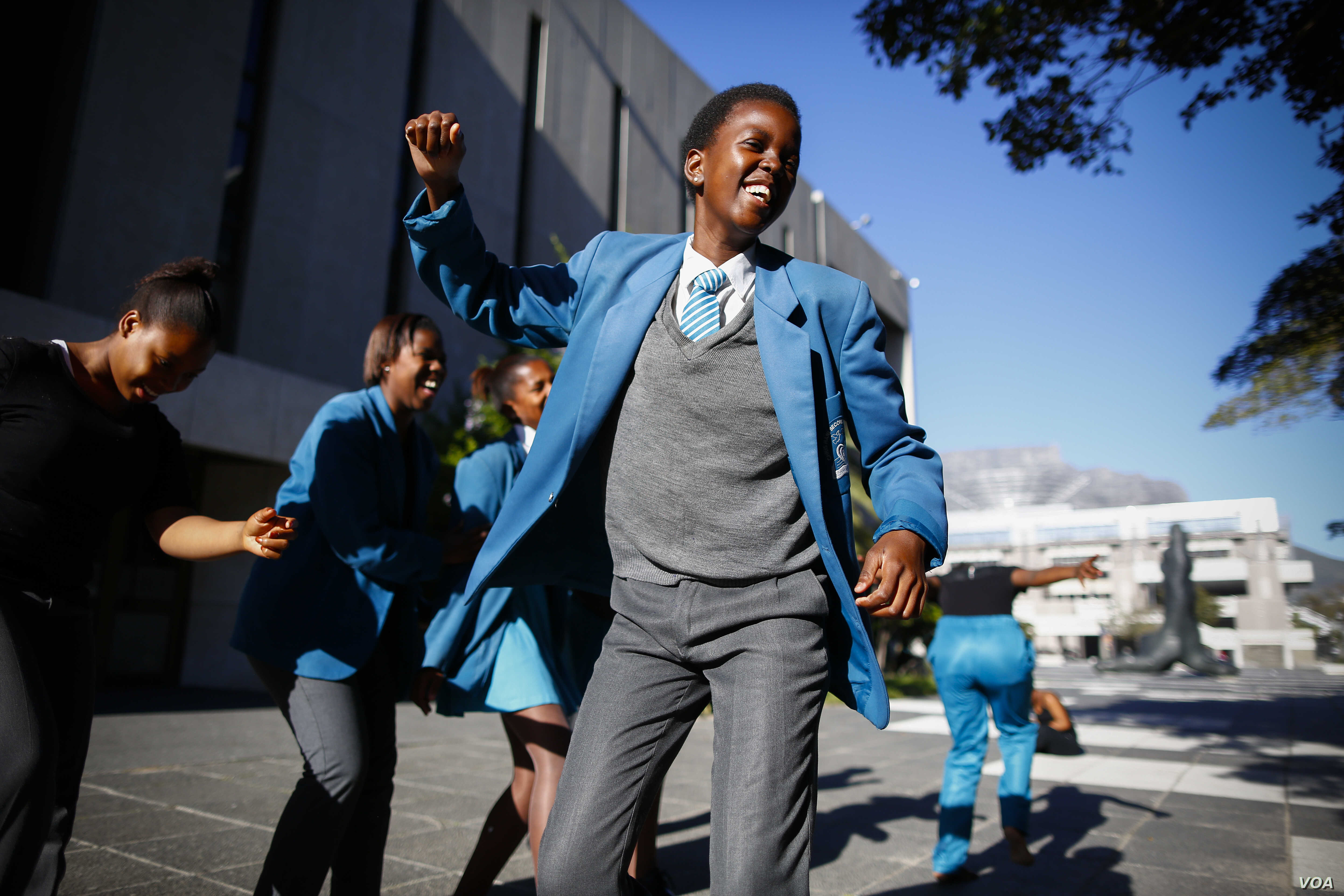 South African school children from Chris Hani High dance during Africa Day celebrations at the Artscape Theatre in Cape Town, South Africa, 25 May 2016.