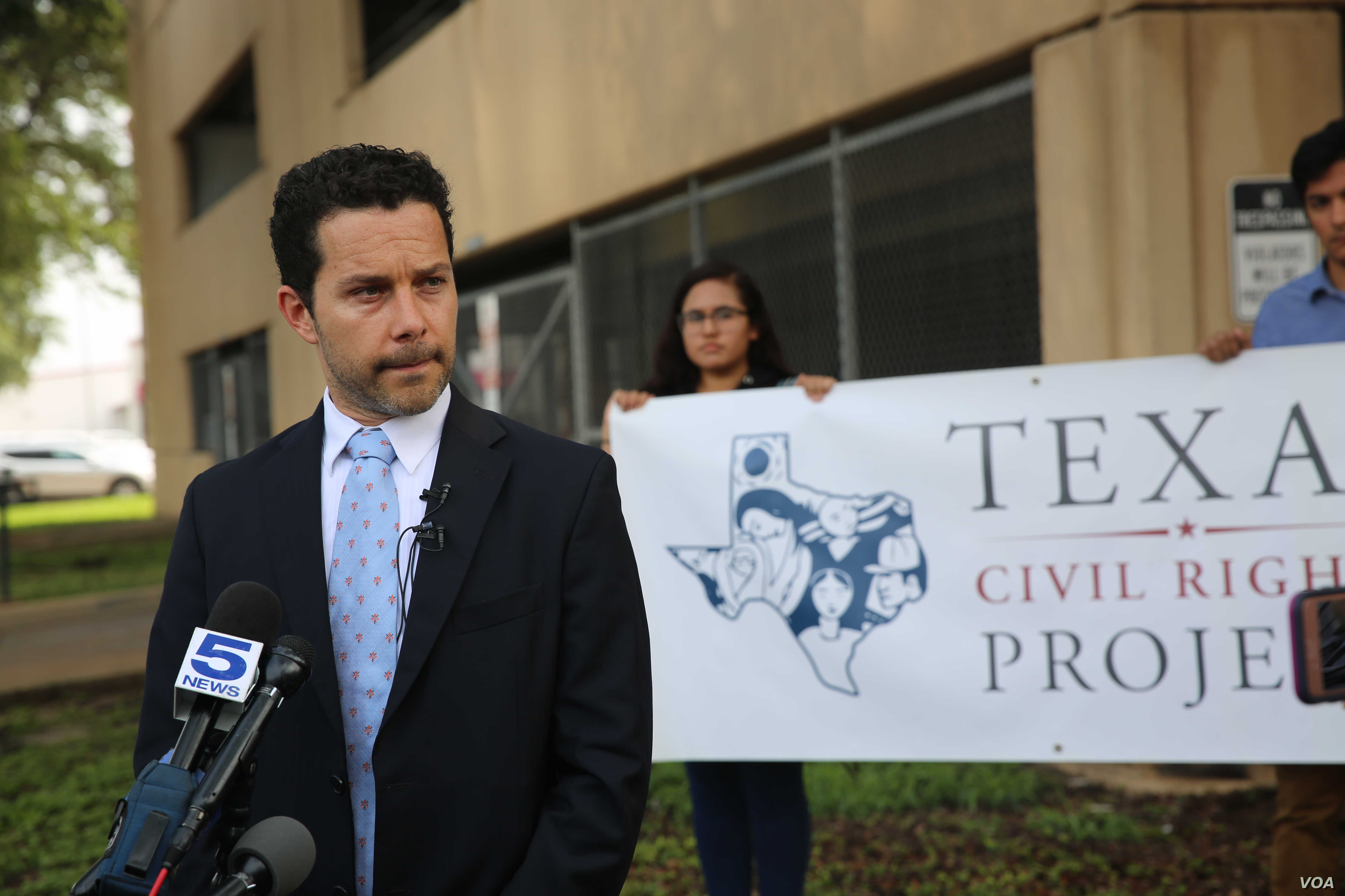 Outside the Federal Courthouse in McAllen, Texas, June 22, 2018, Texas Civil Rights Project attorney, Efren Olivares, (TCRP) told members of the media this was the first day no parents were being criminally prosecuted for the misdemeanor of illegal e...
