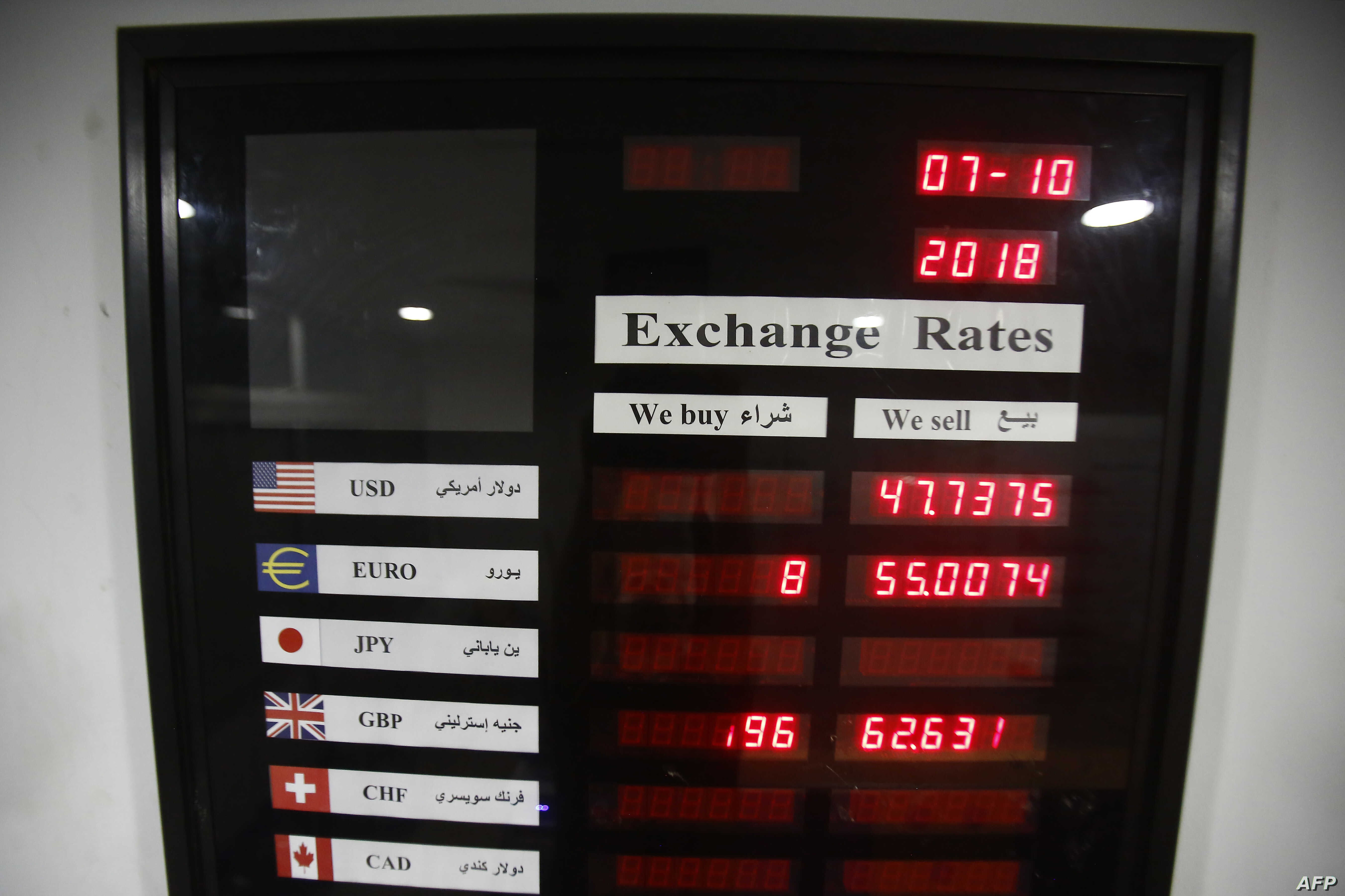 Exhcange rates are displayed at a foreign currency brokerage office in Khartoum on Oct. 7, 2018