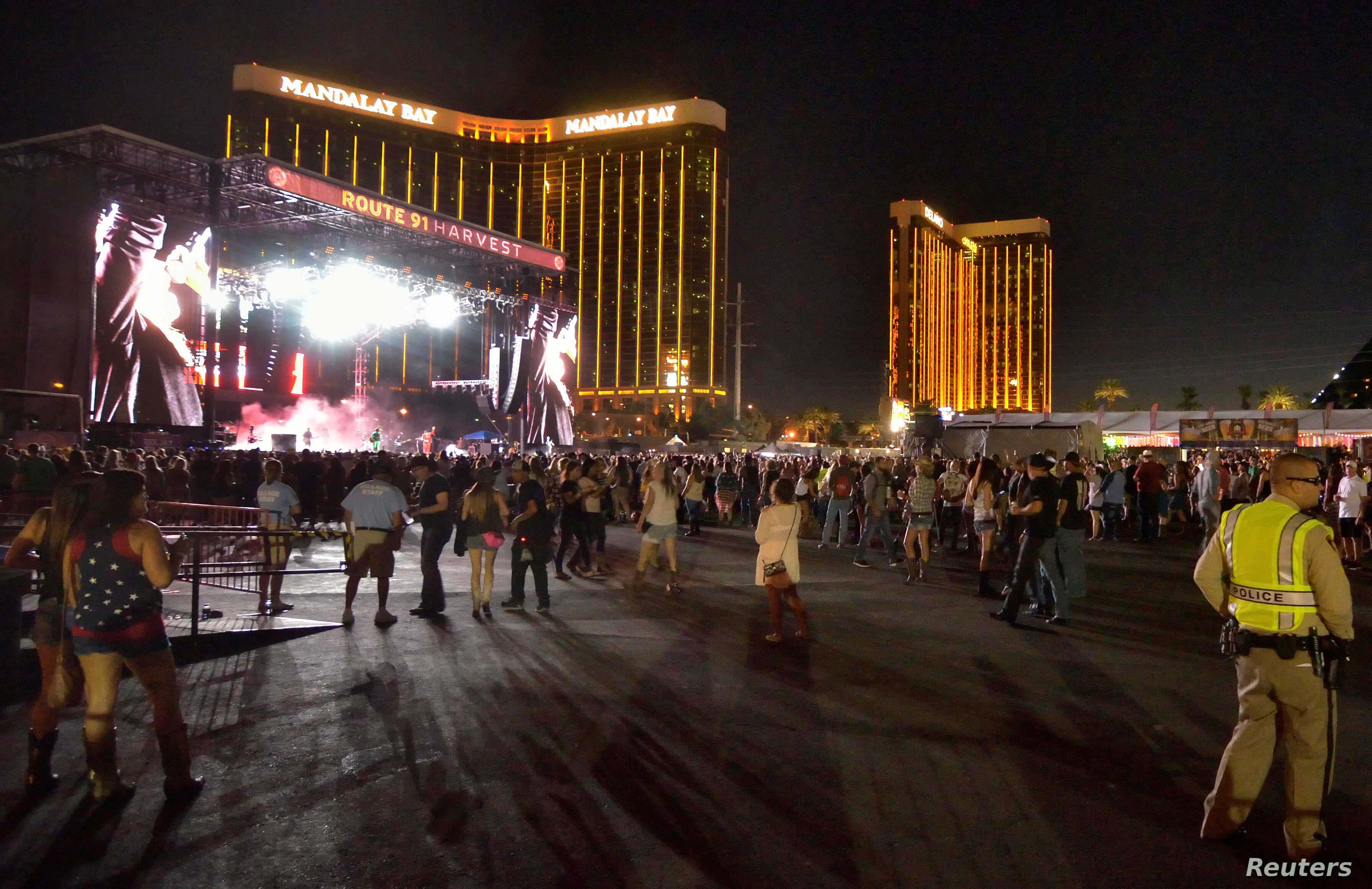 The grounds are shown at the Route 91 Harvest festival, with the Mandalay Bay Hotel behind the stage, on Las Vegas Boulevard South in Las Vegas, Nevada, Oct. 1, 2017.