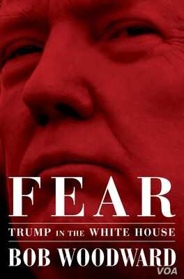 """The cover of the book, """"Fear,"""" from publisher Simon & Schuster, by author Bob Woodward, about the White House under President Donald Trump."""