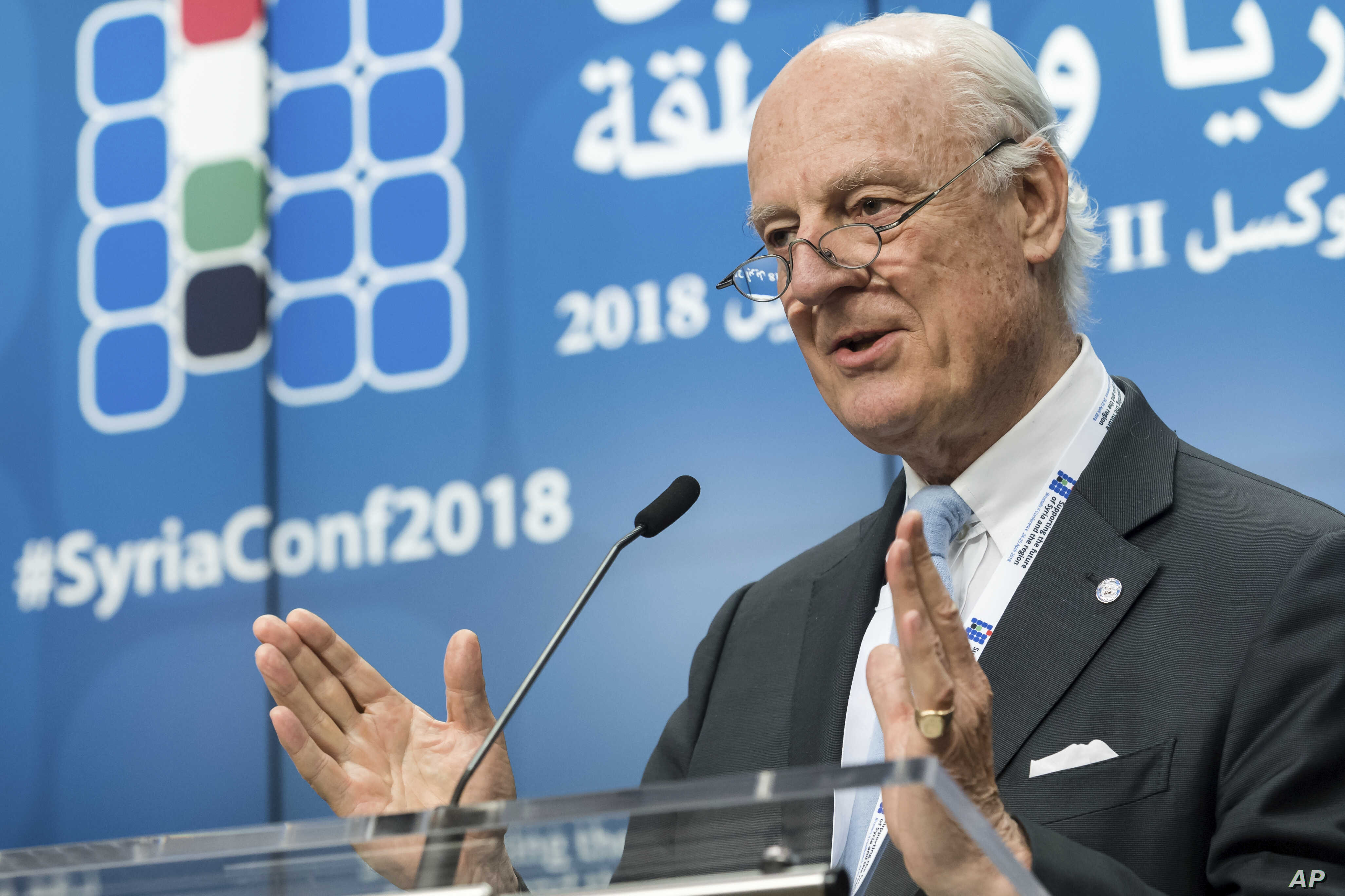 UN Special Envoy of the Secretary-General on Syria Staffan de Mistura addresses the media during a conference 'Supporting the future of Syria and the region' at the EU Council in Brussels on April 25, 2018.