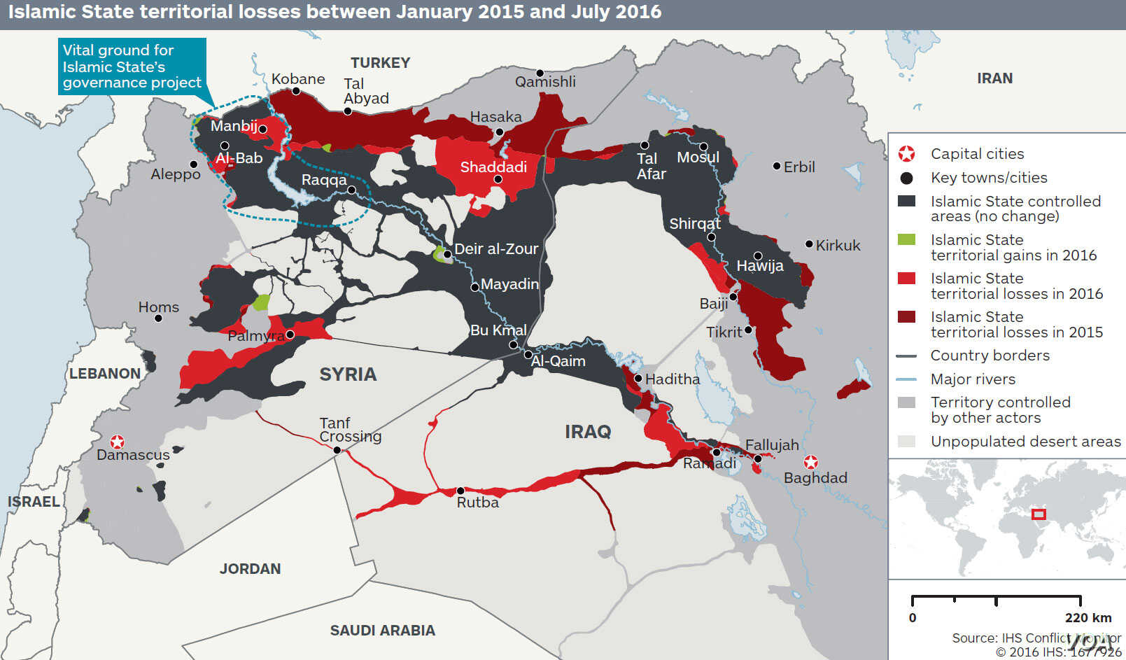 Graphic: Islamic State territorial losses between January 2015 and July 2016 (IHS Conflict Monitor)