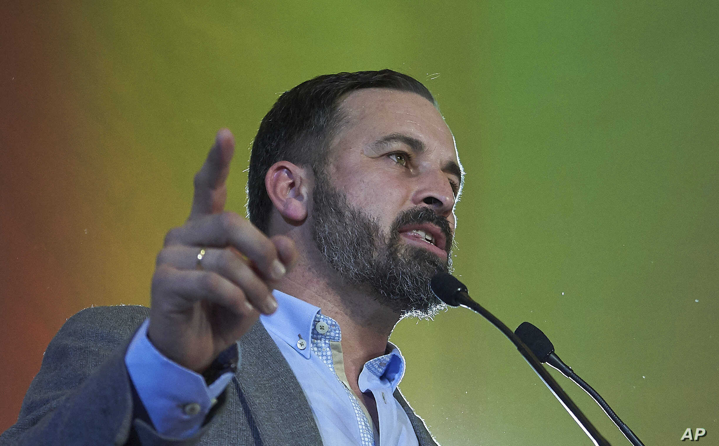 Spain's far-right Vox party President Santiago Abascal takes part in a rally during regional elections in Andalusia, in Seville, Spain.