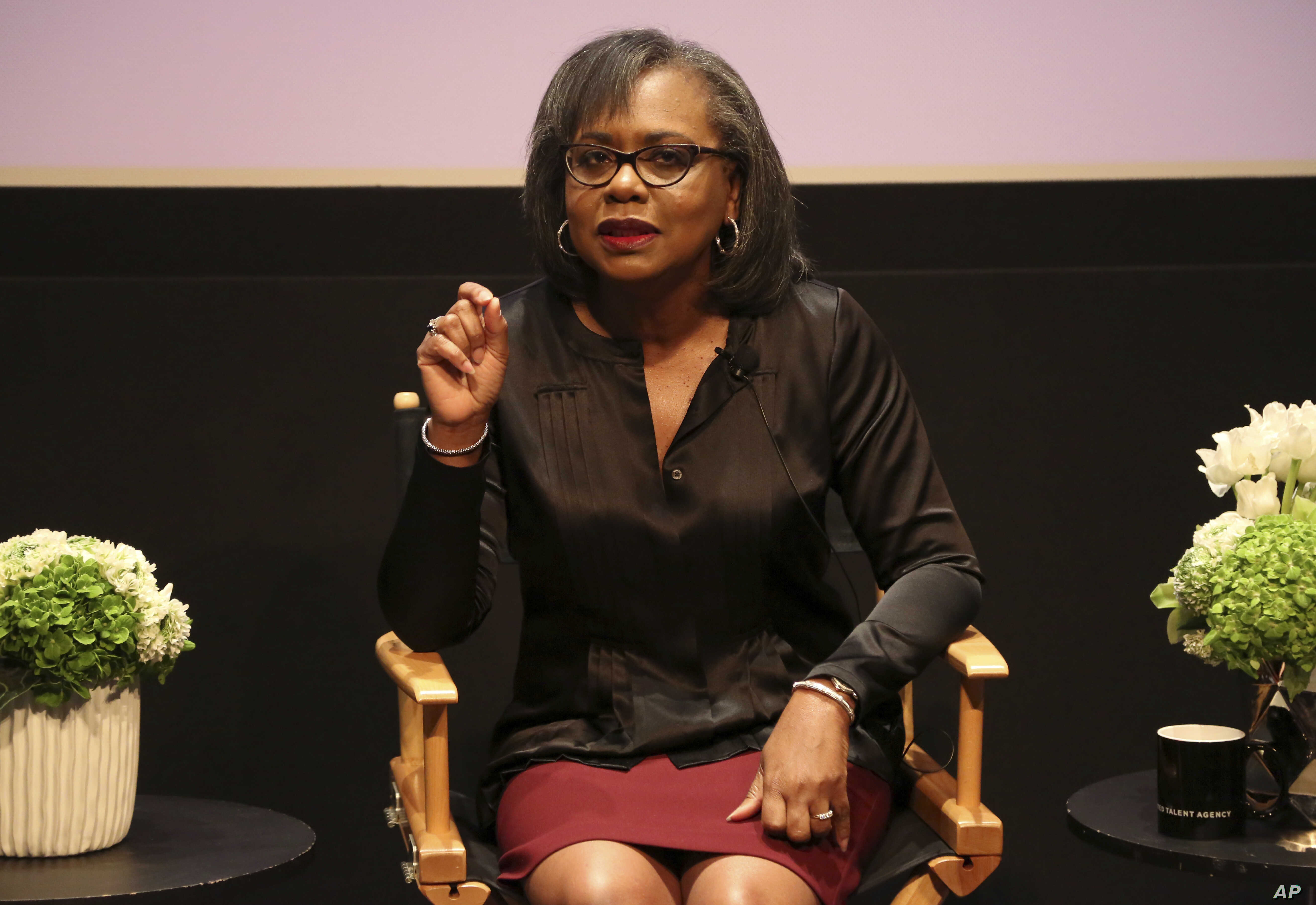 Anita Hill speaks at a discussion about sexual harassment at United Talent Agency in Beverly Hills, California, Dec. 8, 2017. Hill, who was one of the first women to bring the issue of sexual harassment into American public discourse in the 1980s, ha