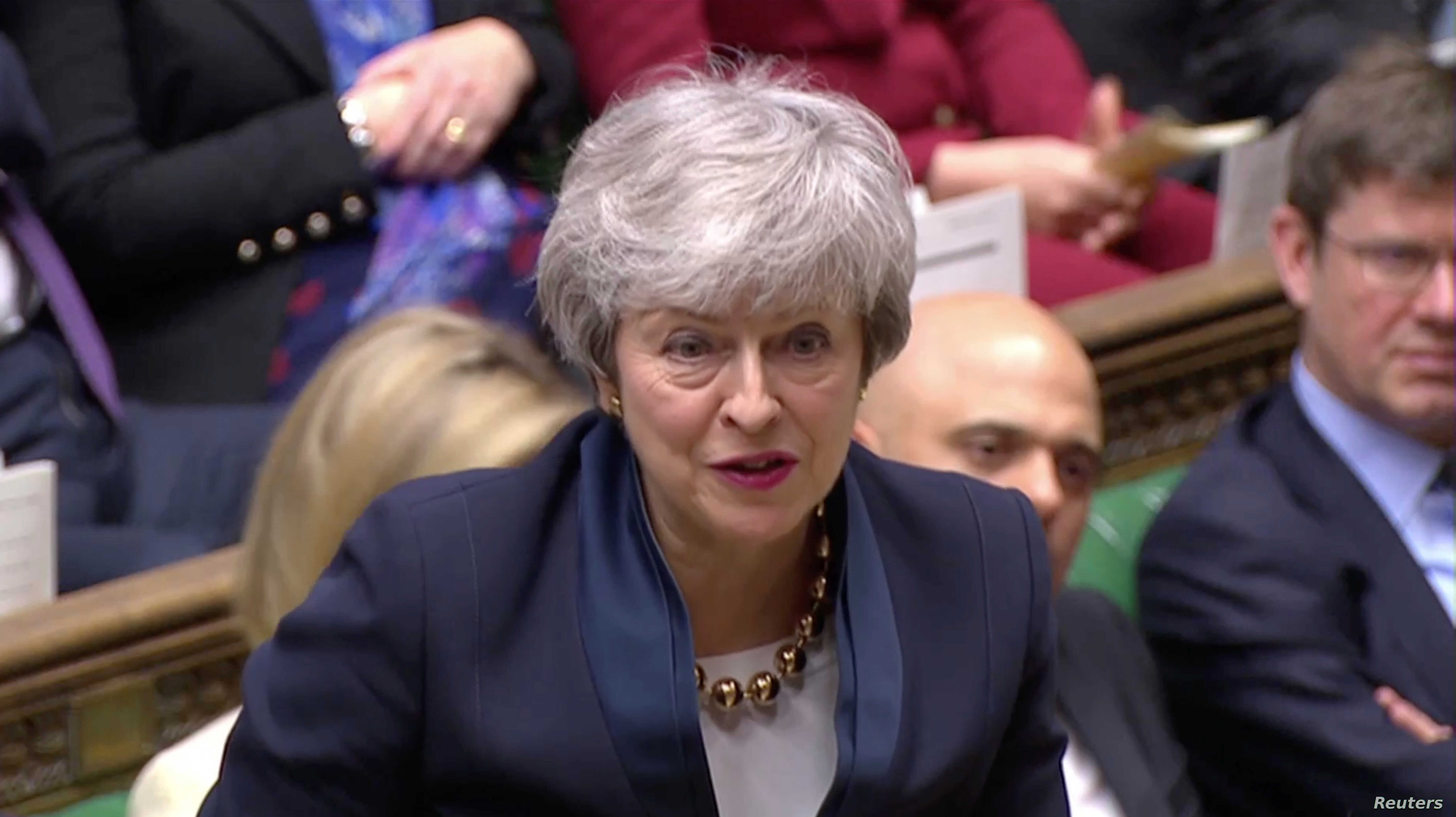 8b16f00291 Britain's Prime Minister Theresa May speaks in the Parliament in London,  April 3, 2019, in this screen grab taken from video.
