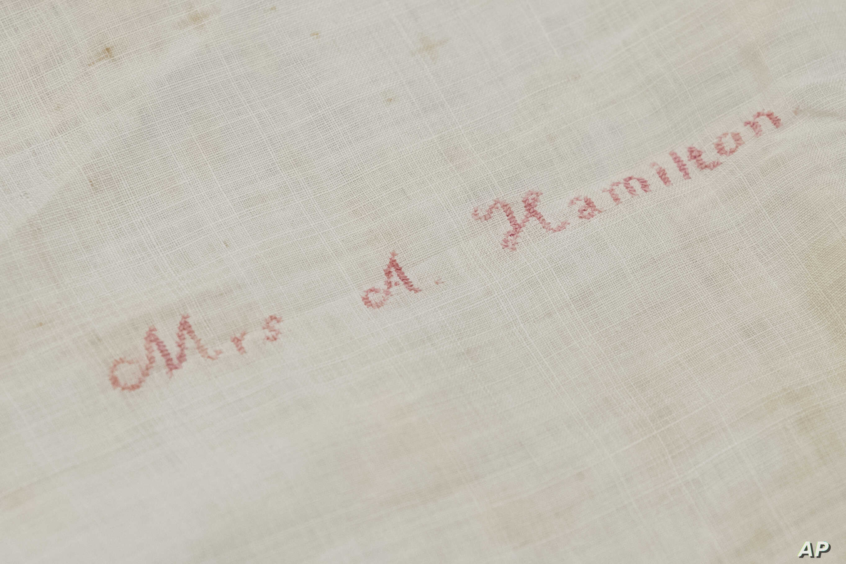 Shown is Alexander Hamilton's widow Elizabeth Hamilton's handkerchief embroidered with her name at the Museum of the American Revolution in Philadelphia, Nov. 12, 2018.