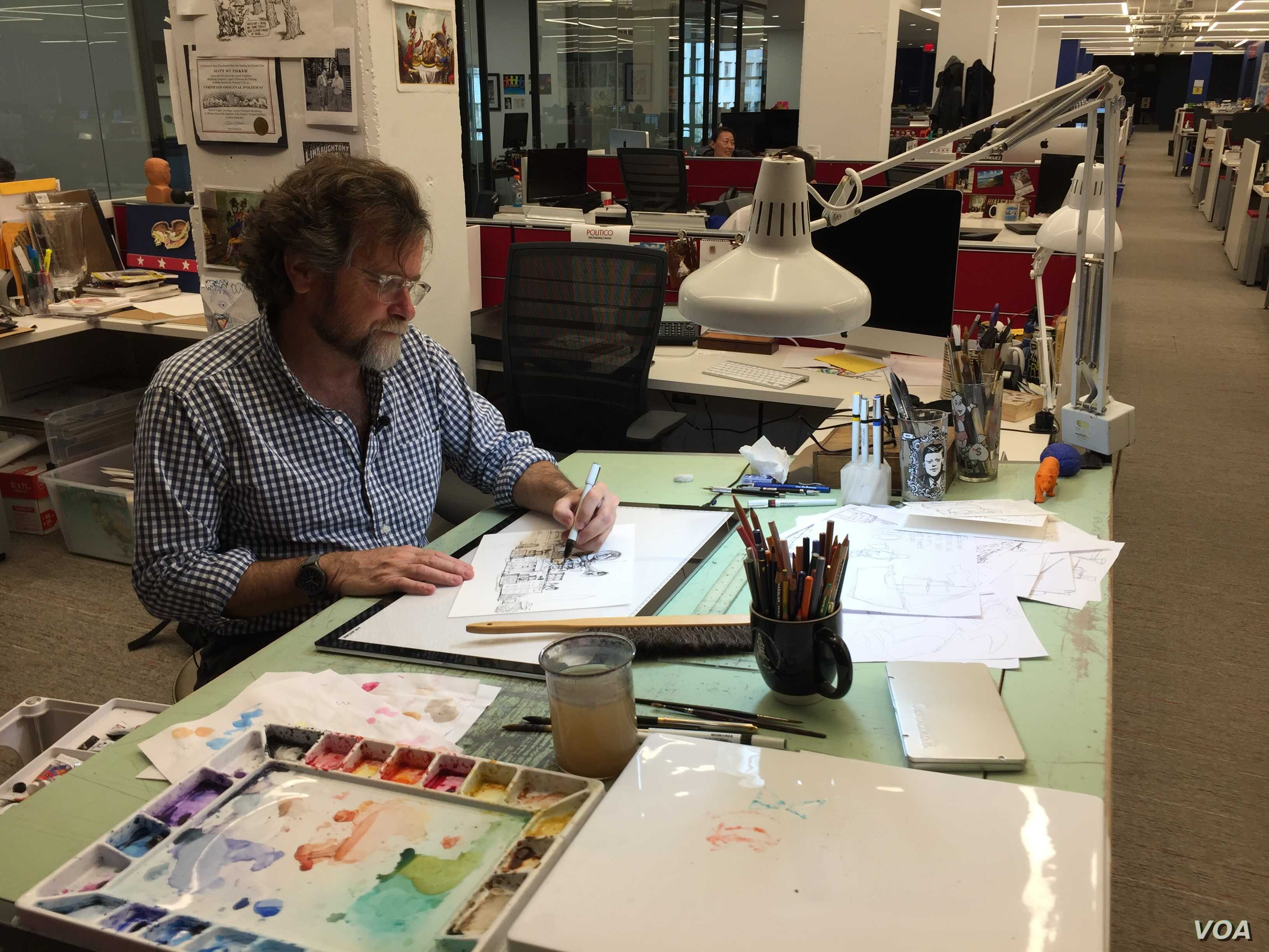 Matt Wuerker, a Pulitzer-Prize winning cartoonist at Politico, creates an average of three cartoons a week.
