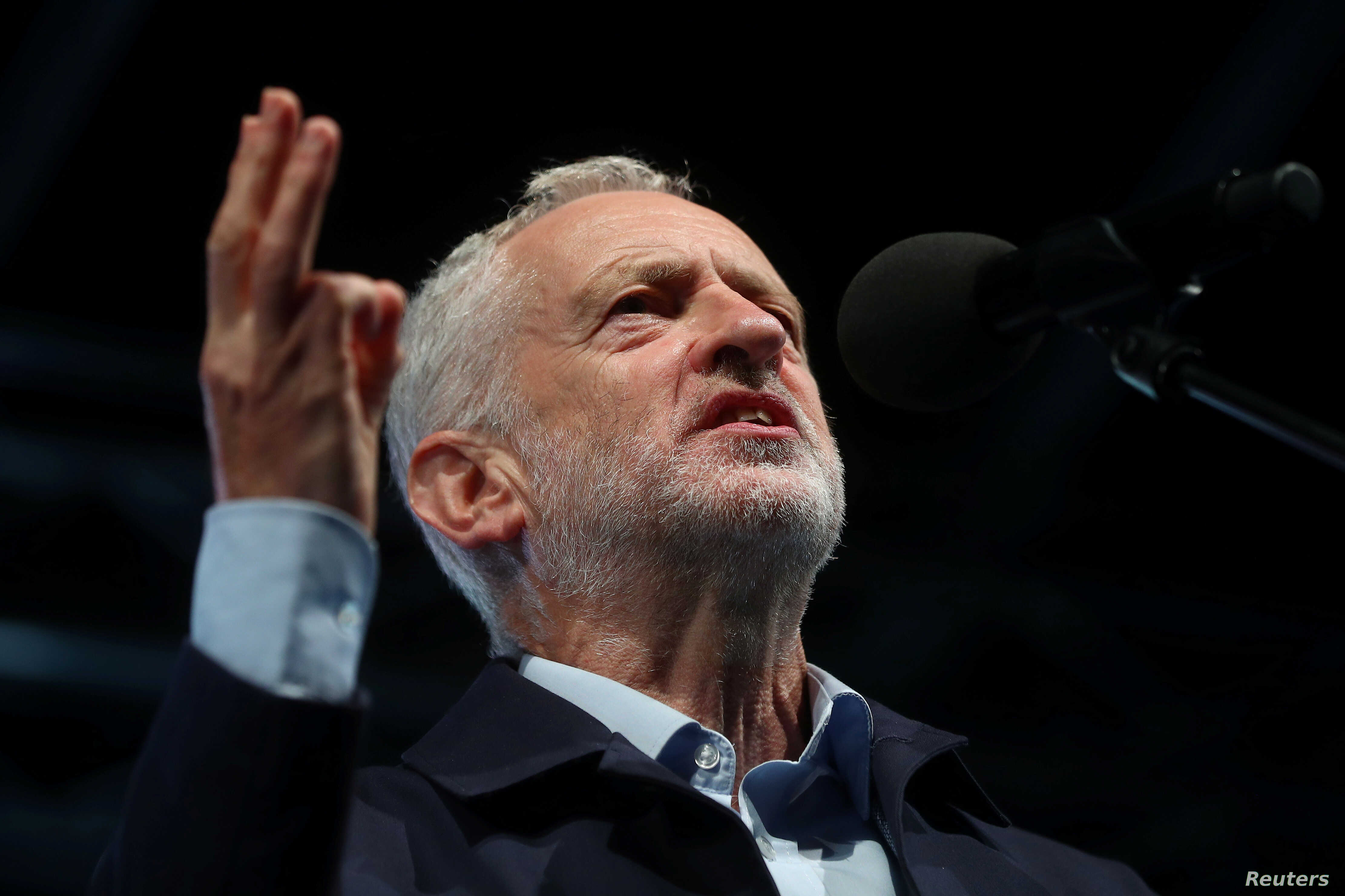 Britain's Labor Party leader Jeremy Corbyn speaks during a rally ahead of his party's annual conference, in Liverpool, England, Sept. 22, 2018.