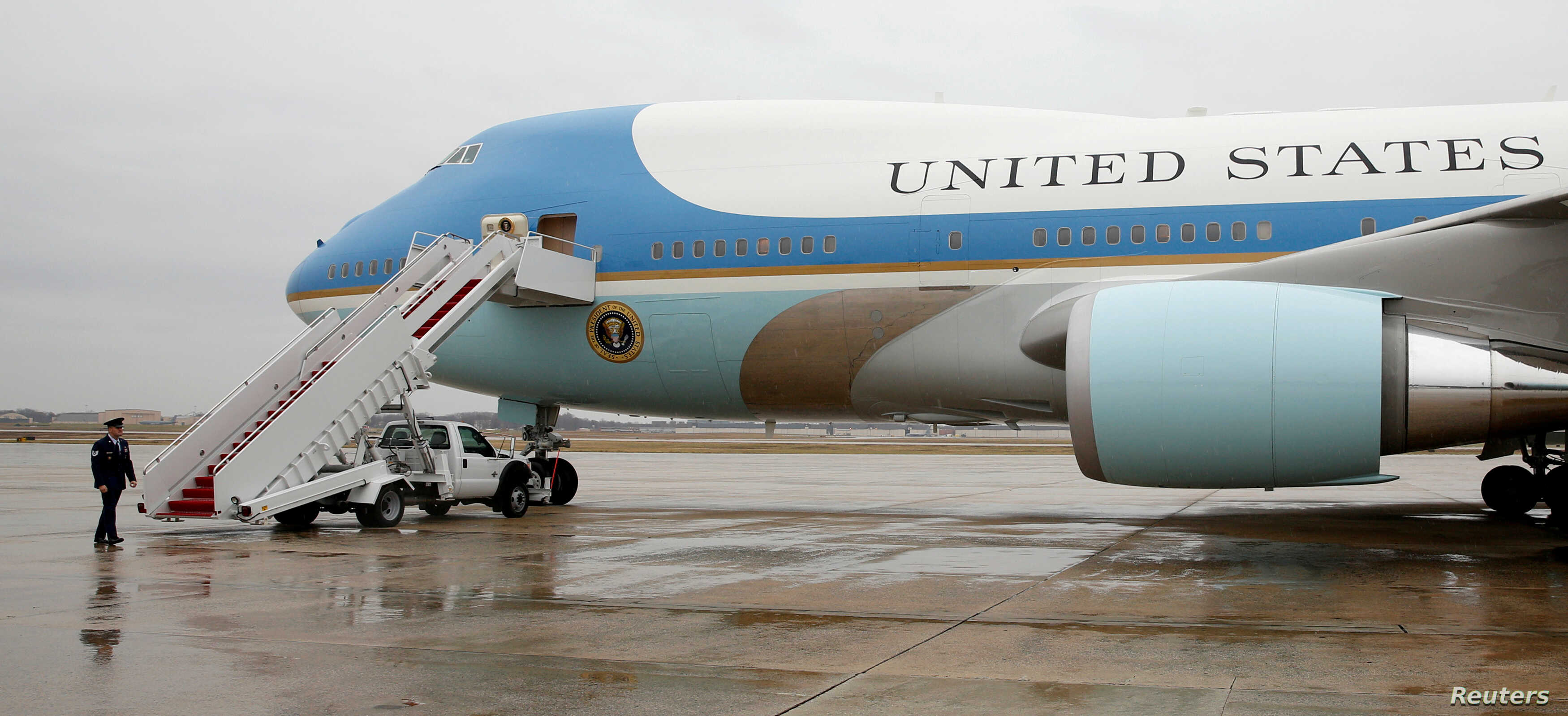 FILE - Air Force One sits ready for boarding on the tarmac at Joint Base Andrews in Maryland, Dec. 6, 2016.