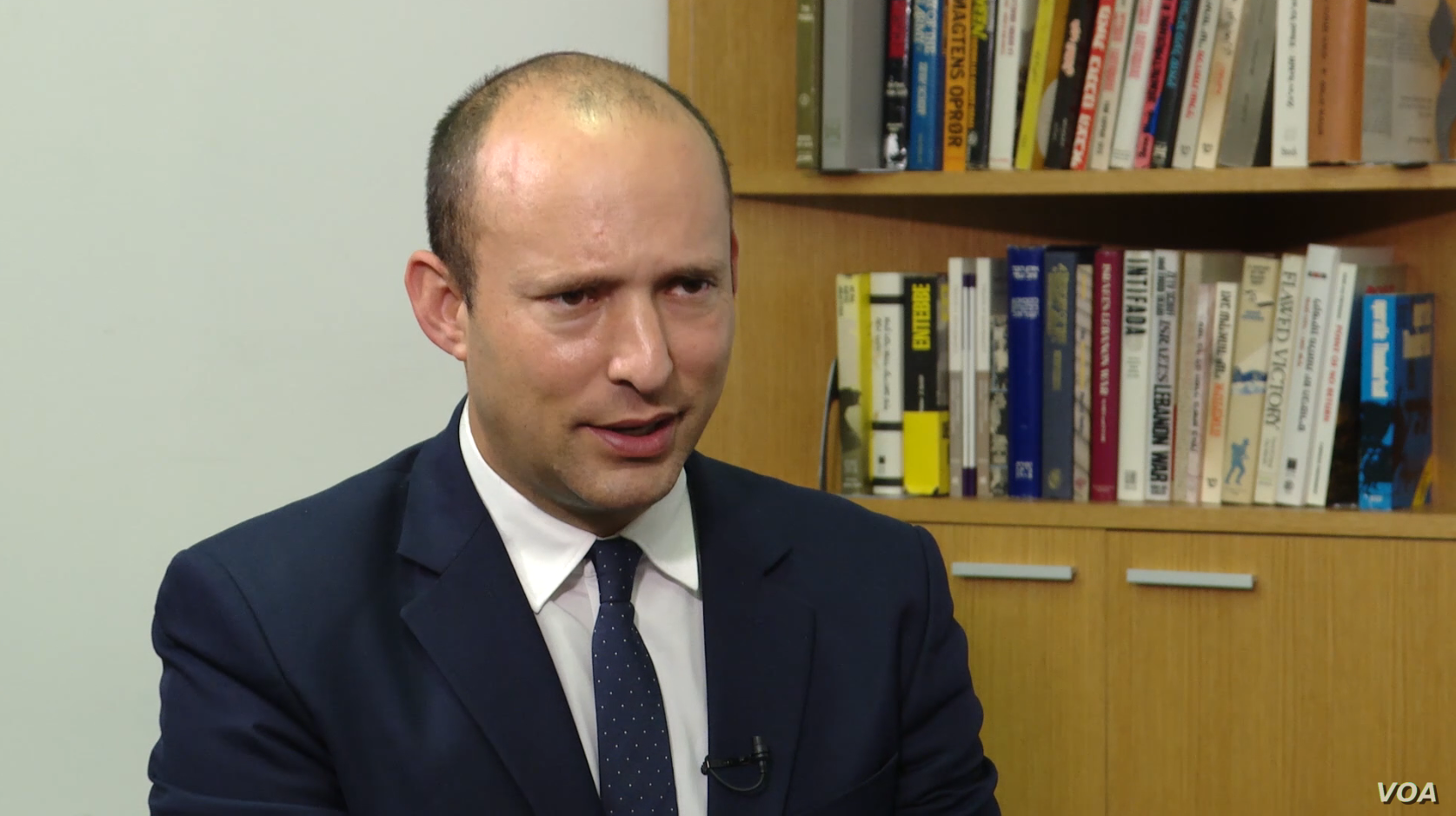 Israeli Education Minister Naftali Bennett talks to VOA Persian at Tel Aviv University's Institute for National Security Studies on October 8, 2018.
